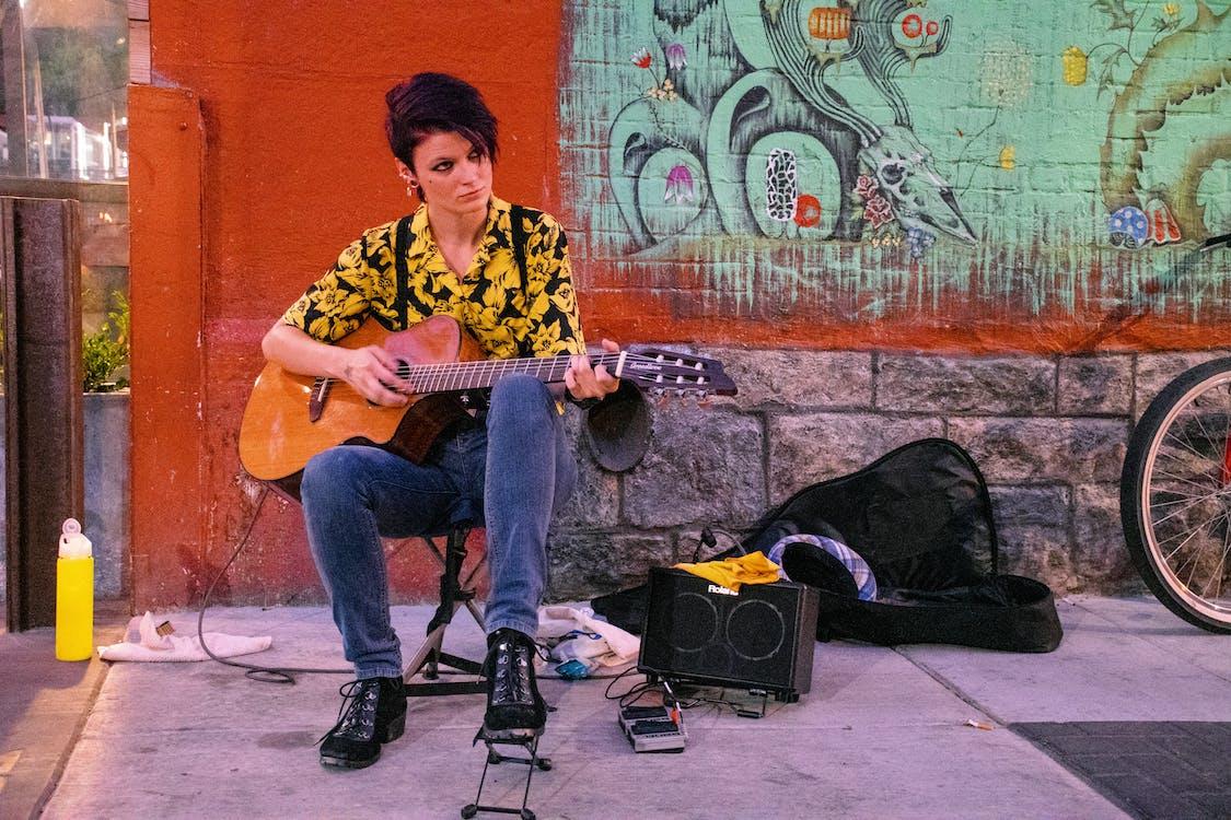 chitarra, donna, graffiti