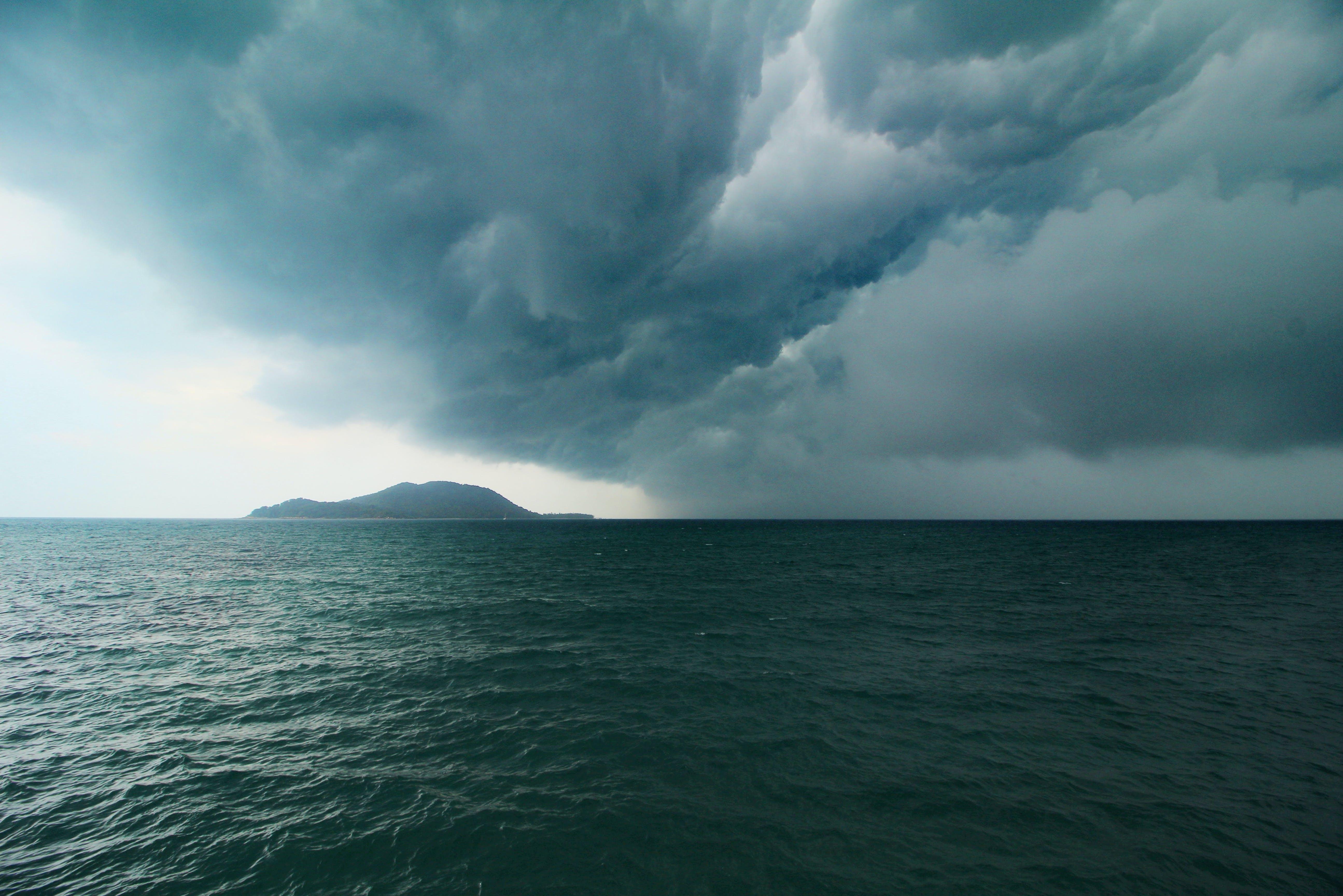 구름, 바다, 폭풍의 무료 스톡 사진