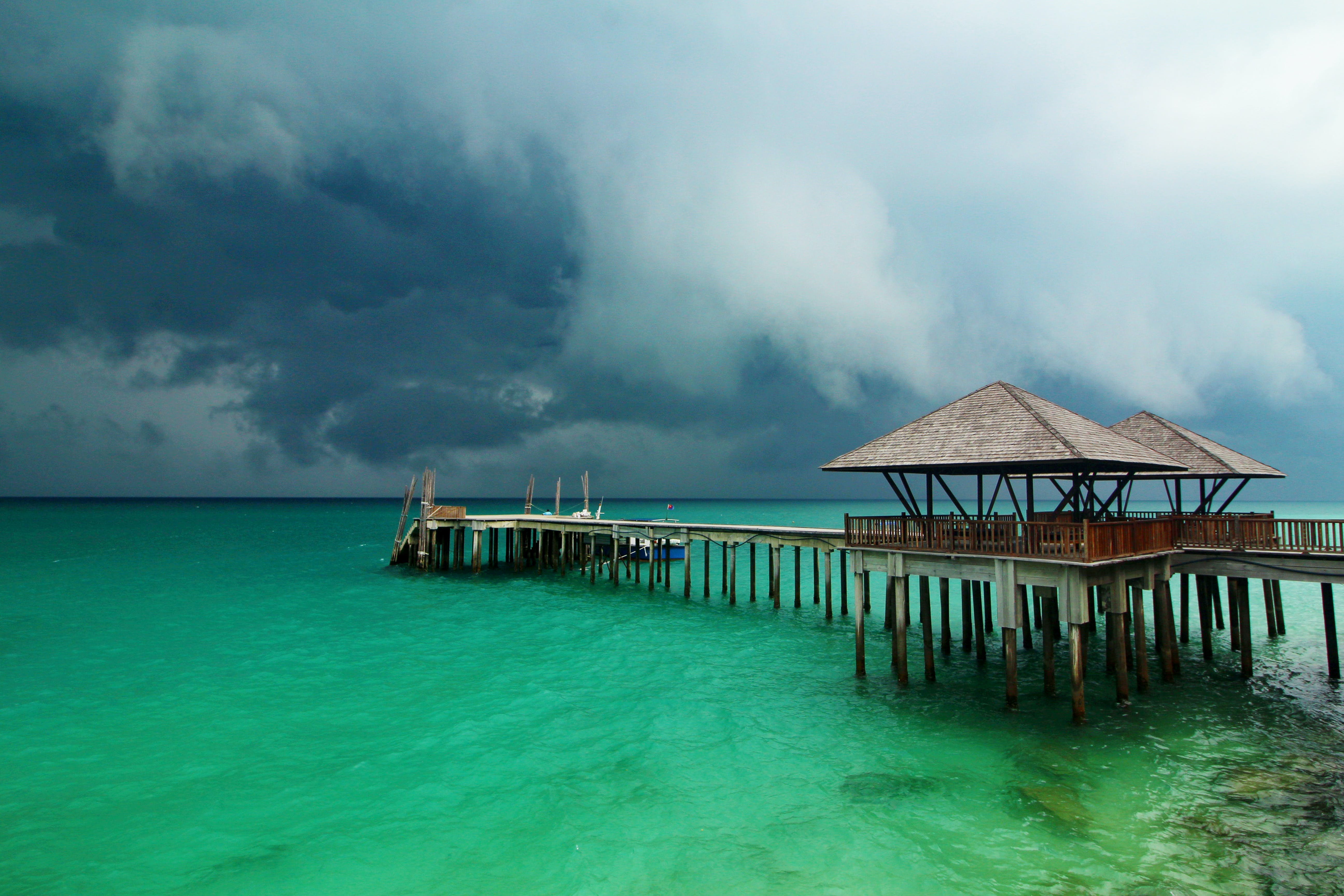 Free stock photo of clouds, pier, sea, storm