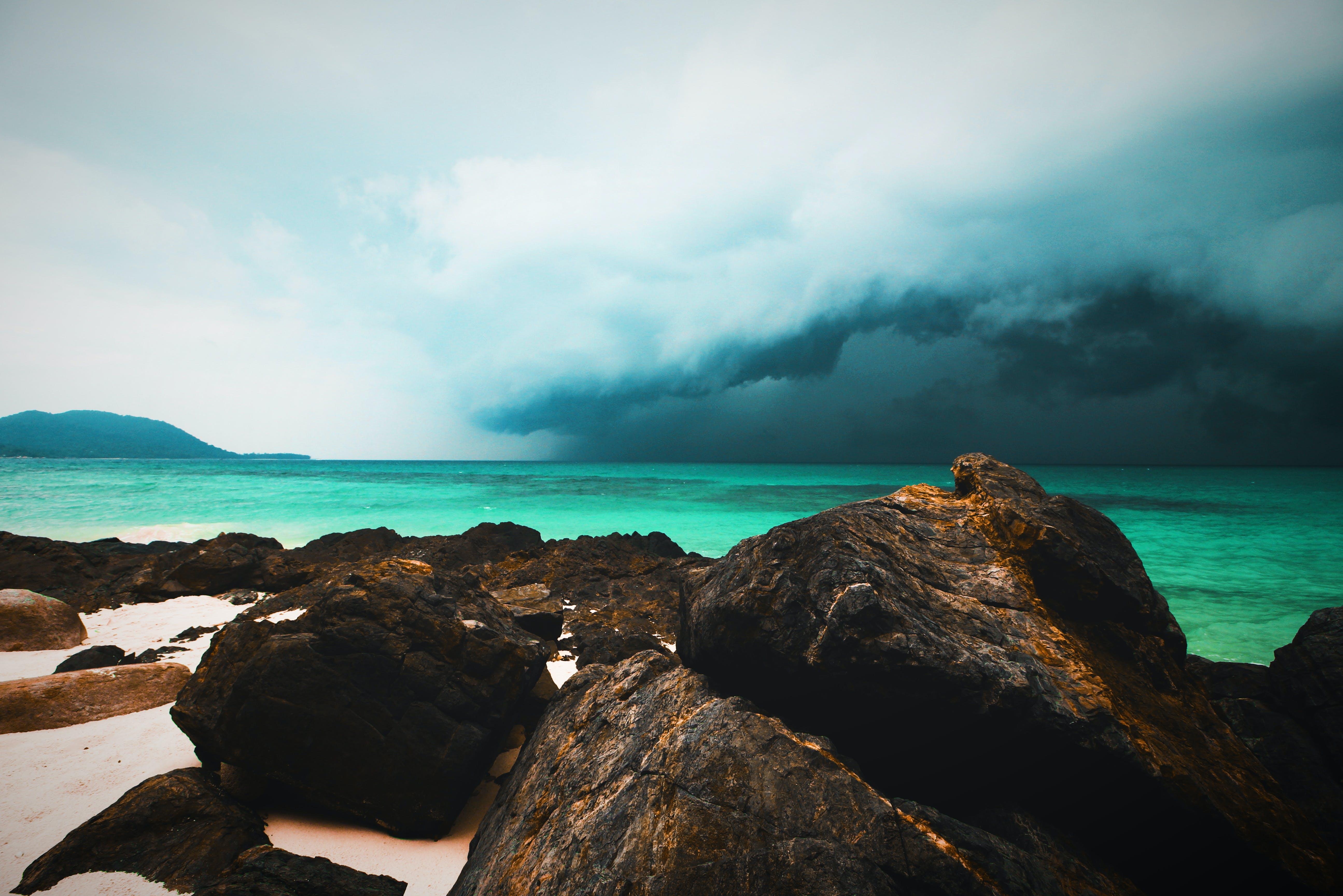 락, 바다, 폭풍의 무료 스톡 사진