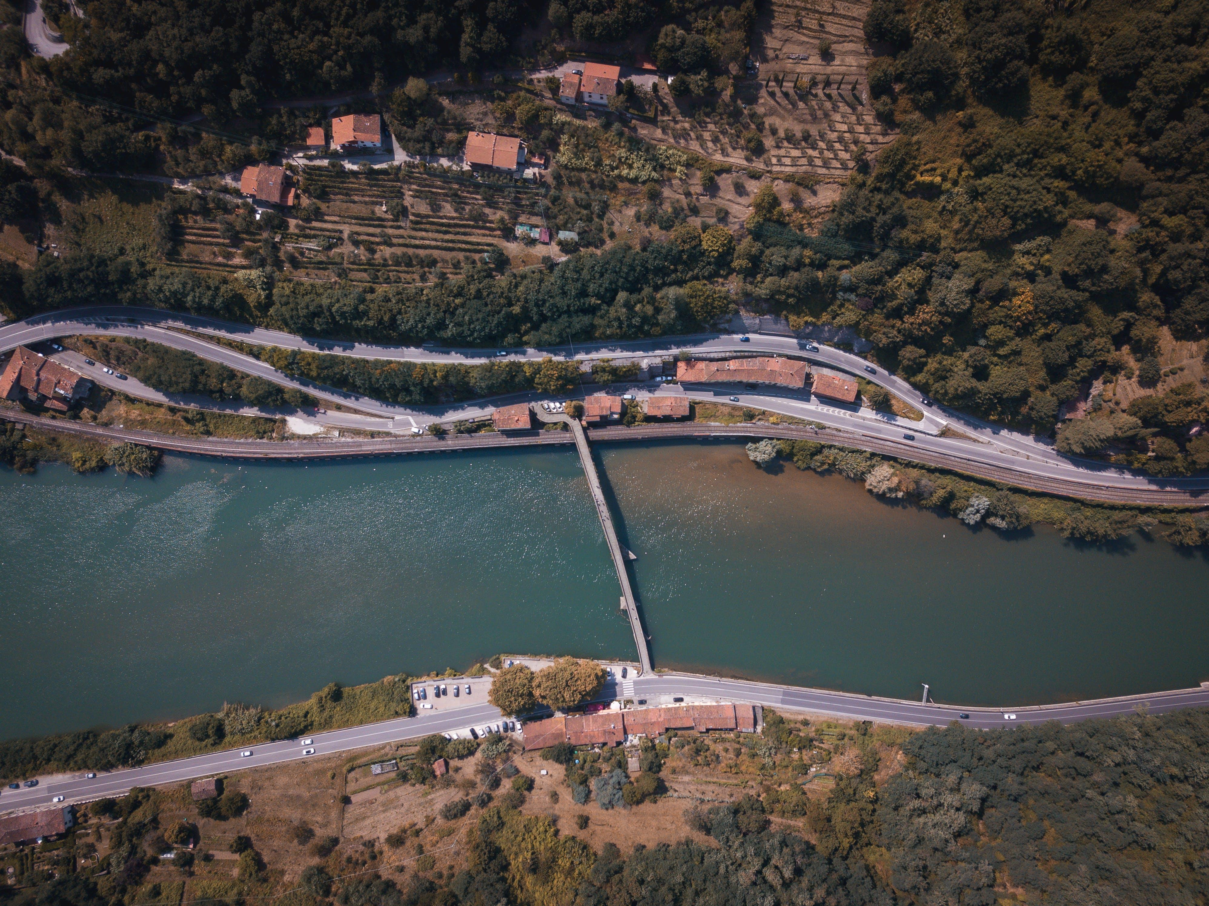Free stock photo of blue water, bridge, drone, italy