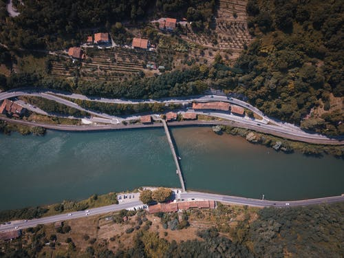 Free stock photo of blue water, bridge, drone, italy