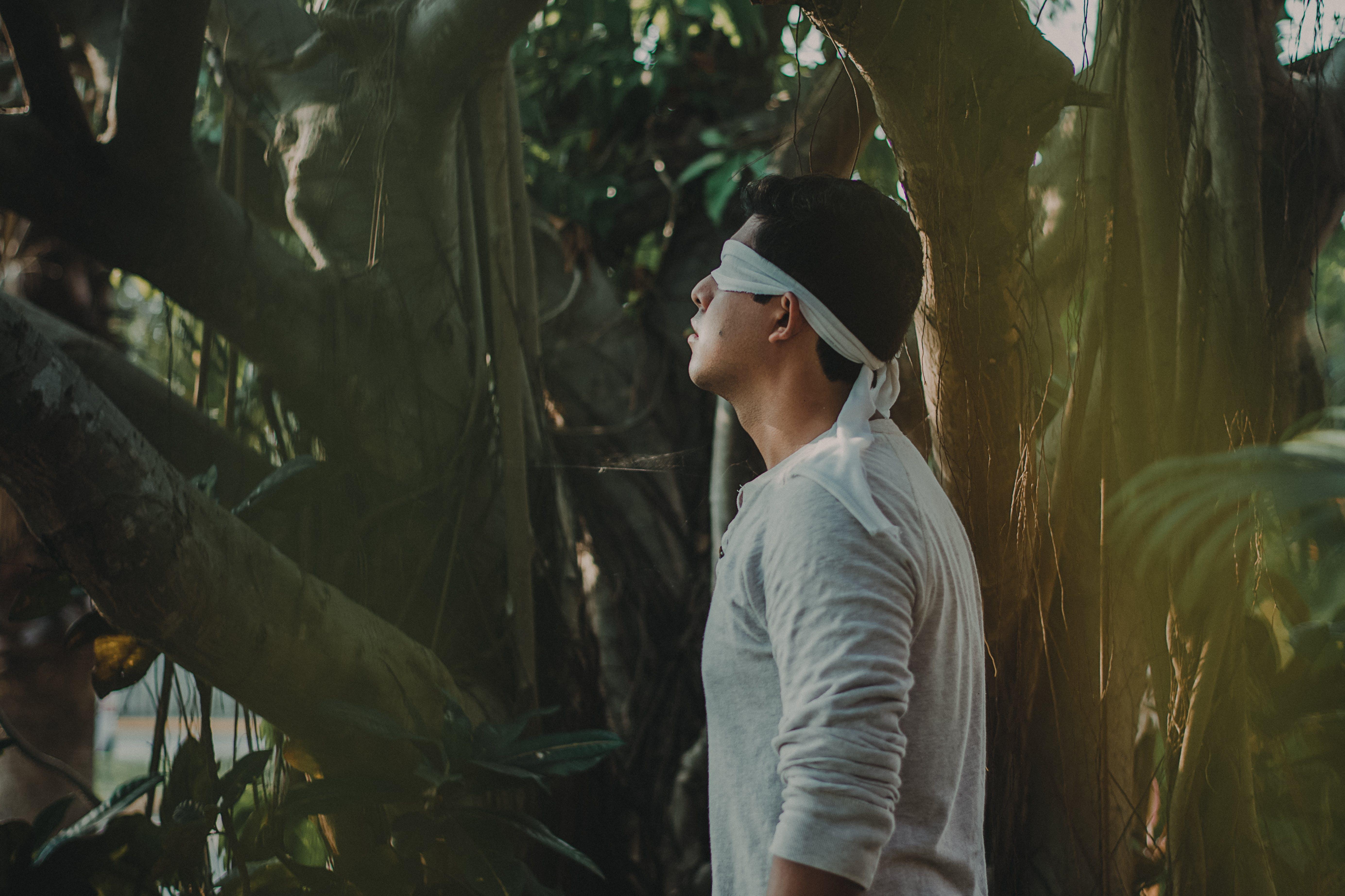 alone, blindfolded, man