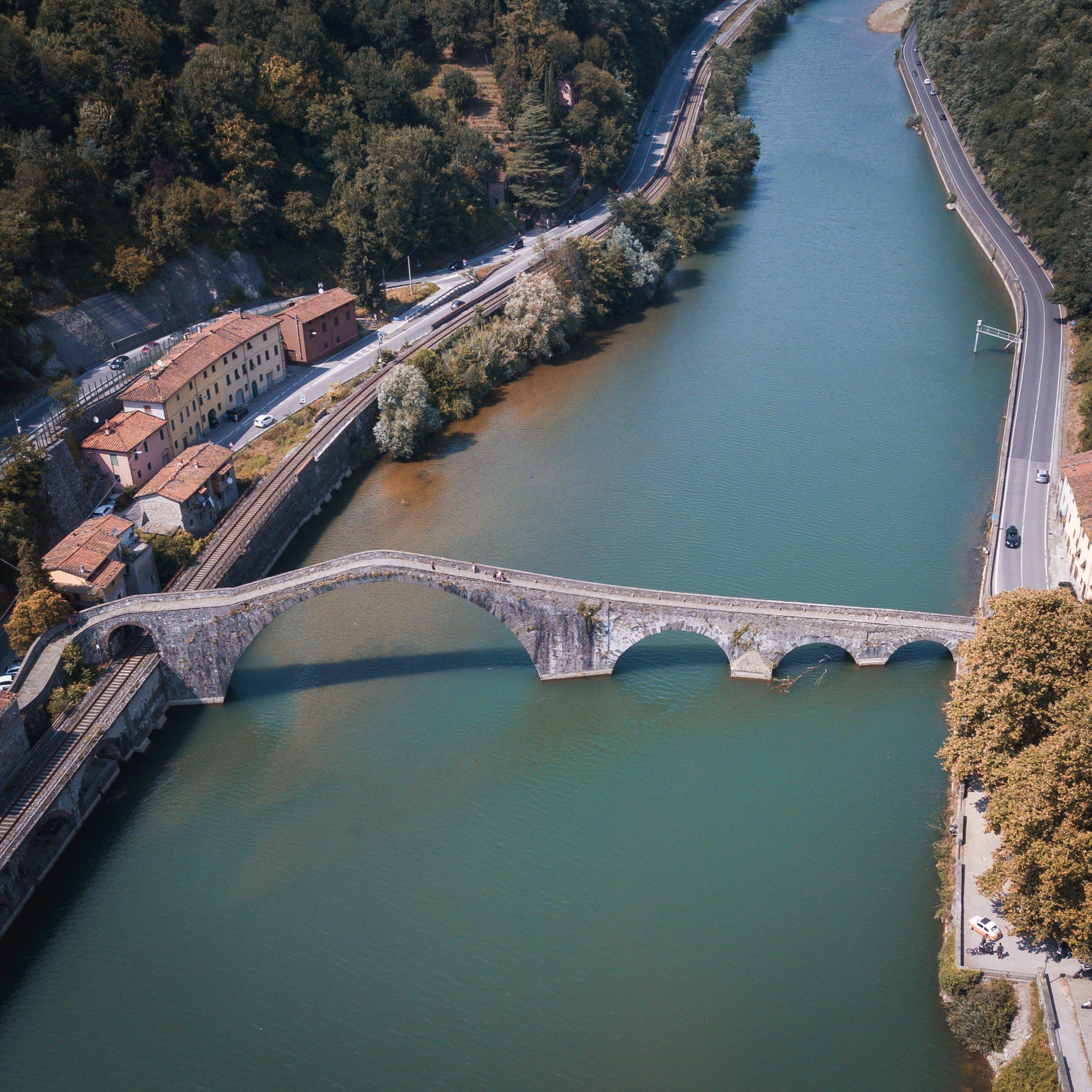 Free stock photo of bridge, drone, italy, landscape