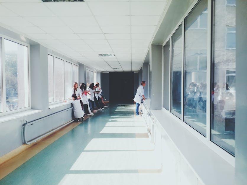 Doctors Hospital People Health Nurses Hallway Glass Window