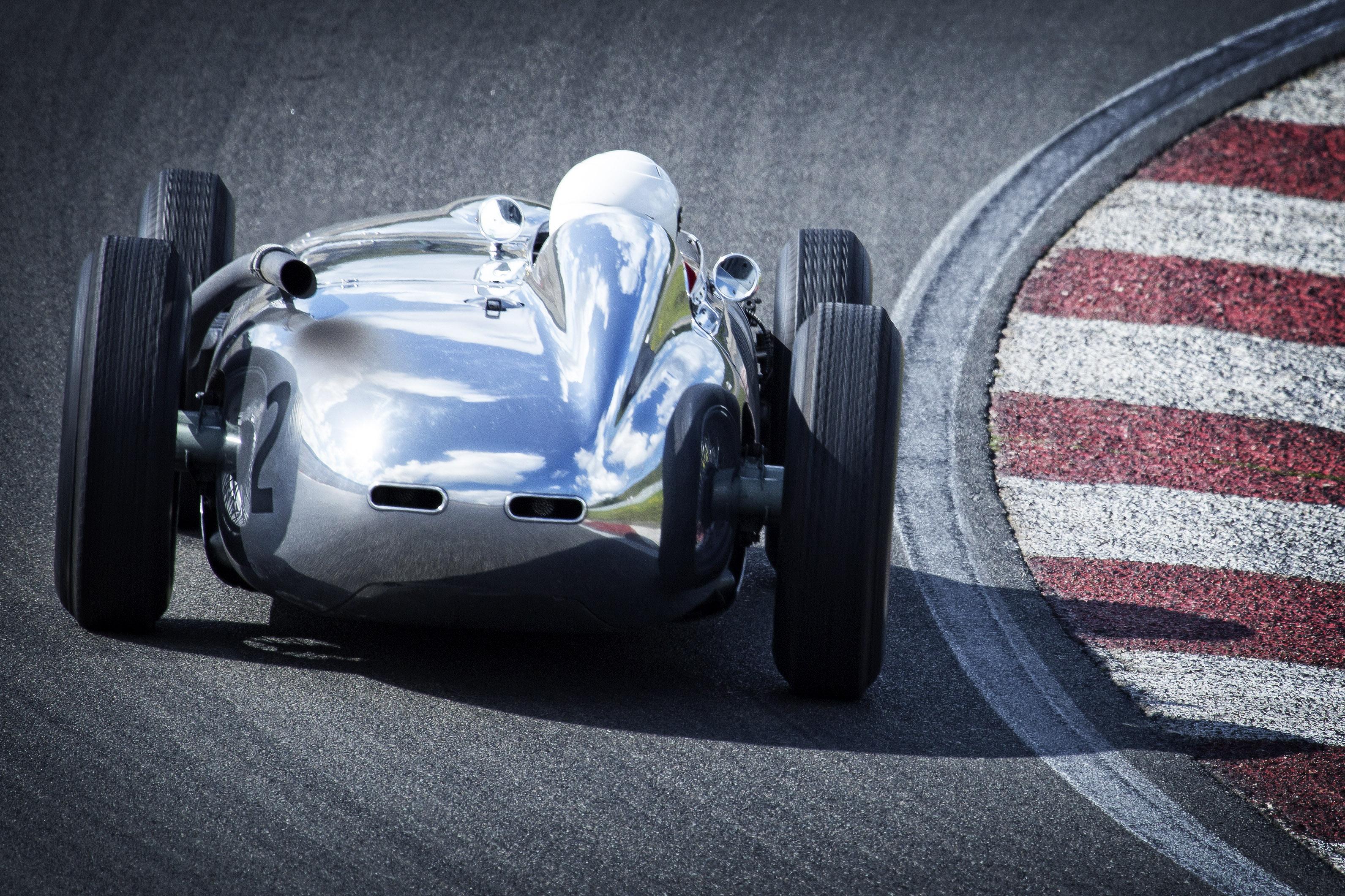 Gray Racing Car on Lane