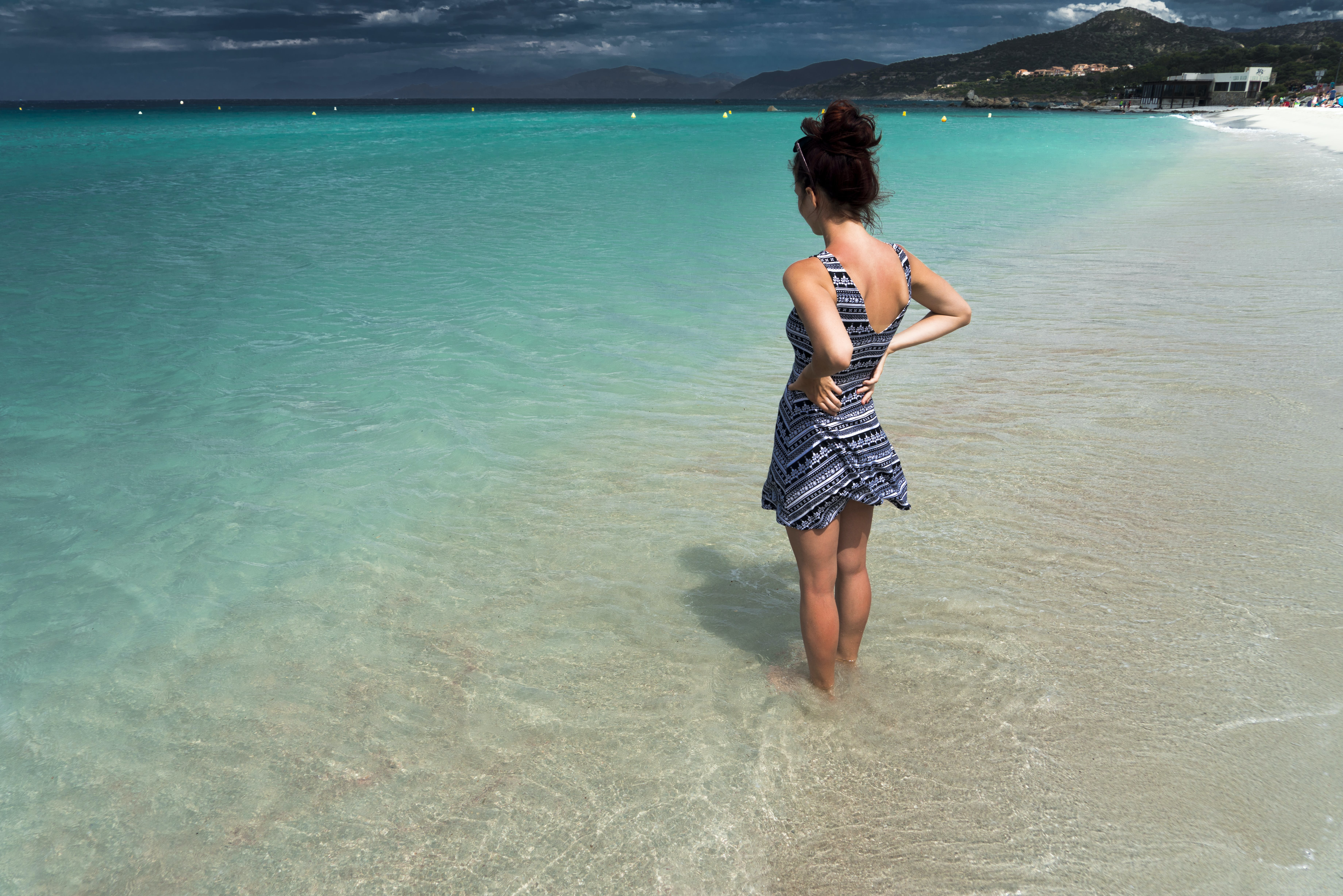 beach, clouds, girl