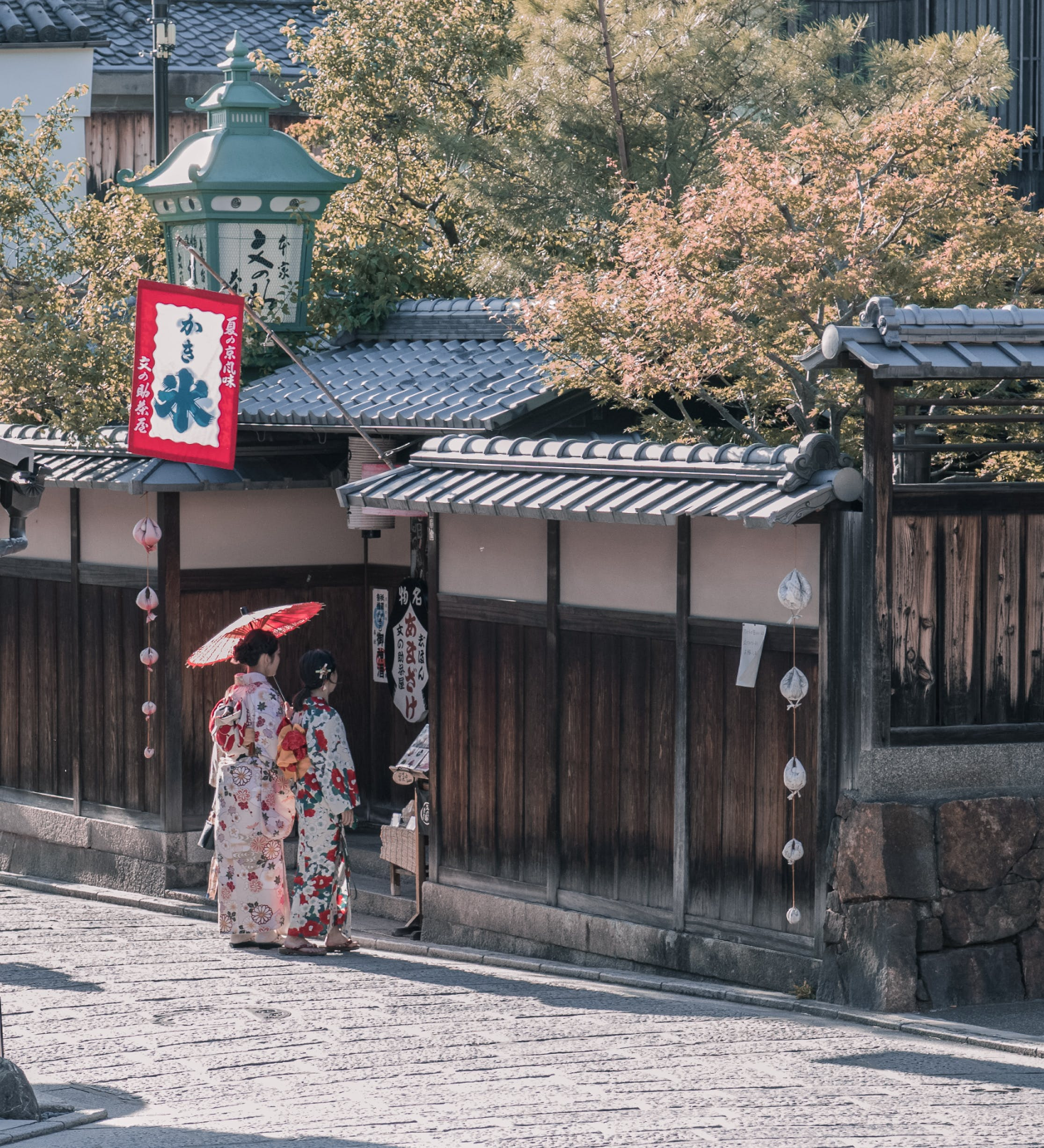 Two Women Wearing Traditional Dresses Standing Near House