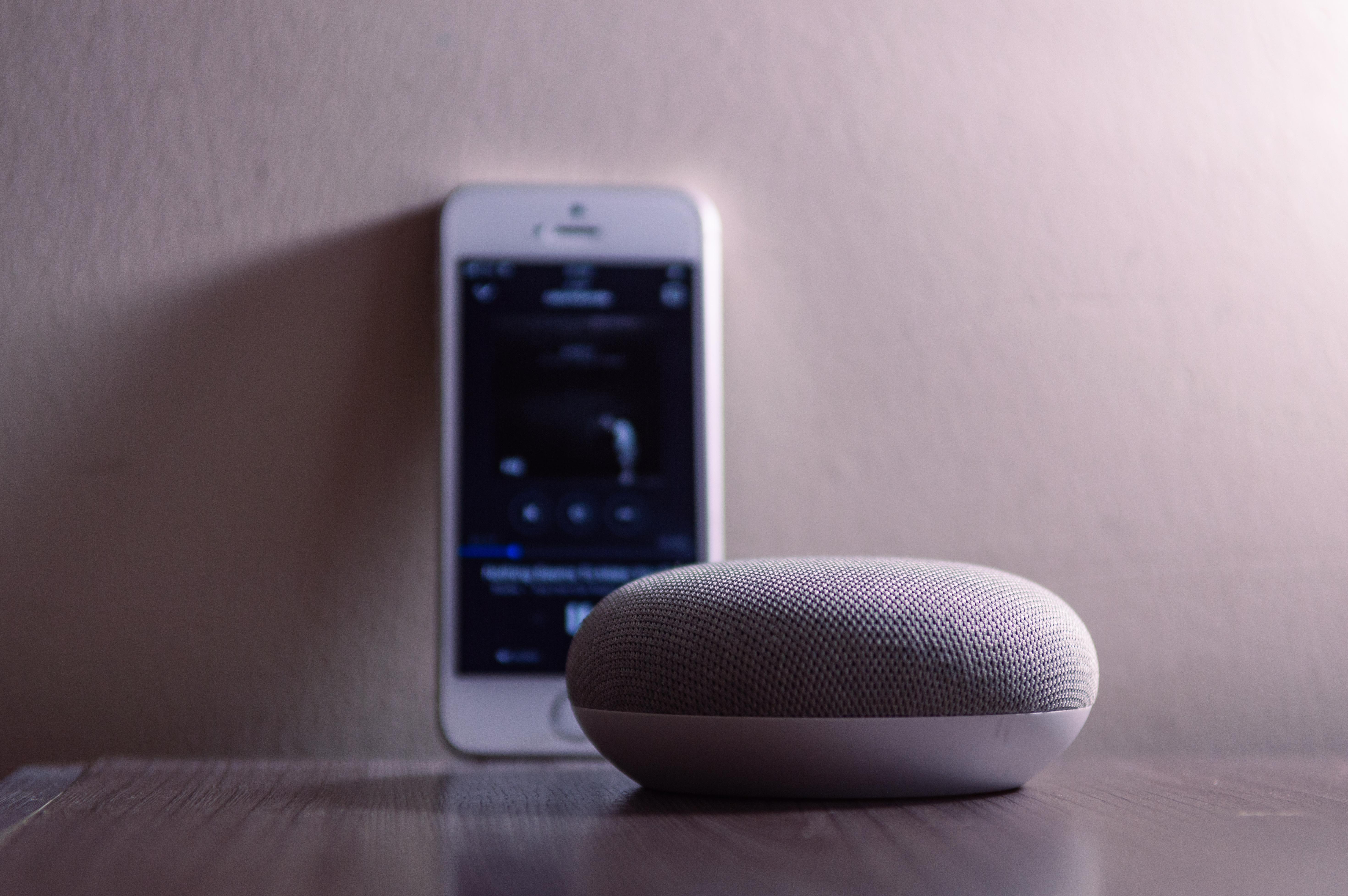 Gray Google Home Mini Beside Silver Iphone 5s