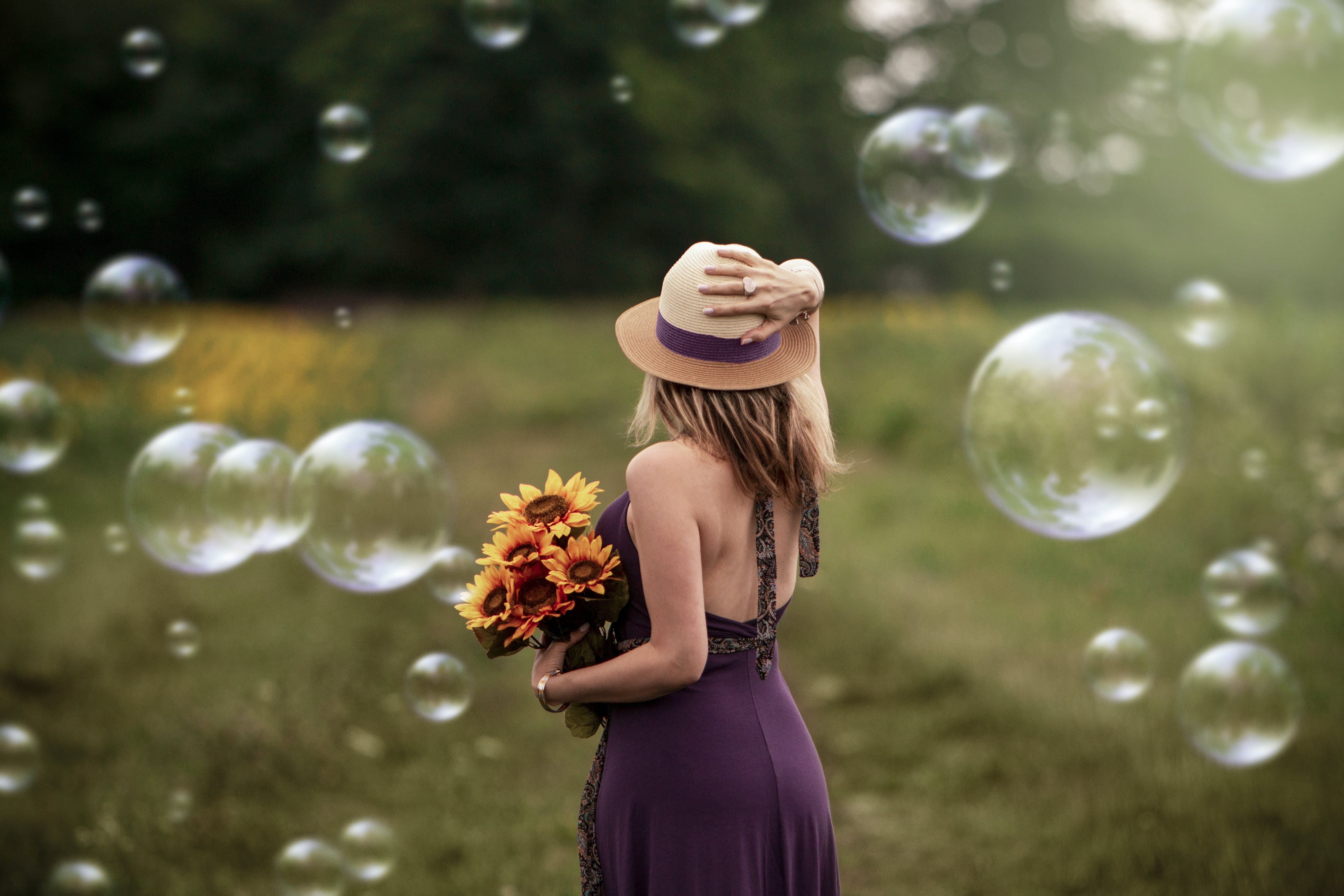 Free stock photo of woman, flowers, dream, hat