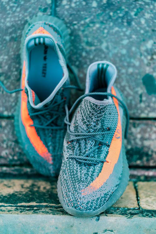 Pair of Gray Adidas Yeezy Boost 350 Shoes