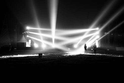 Free stock photo of backlight, black and white, concert, night