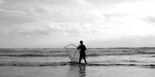 Free stock photo of beach, fisherman, sea