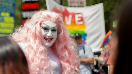 Woman Wearing Pink Wig and White Makeup