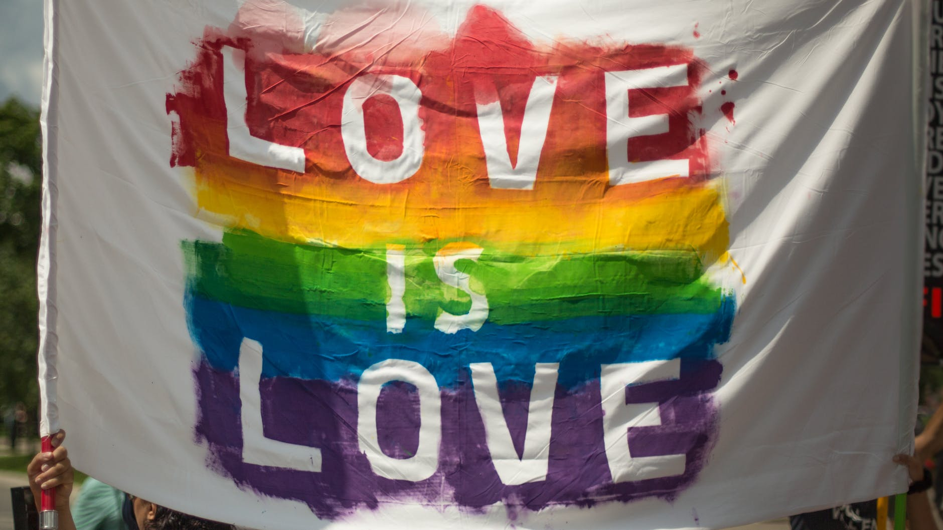 Description: White and Multicolored Love Is Love Banner