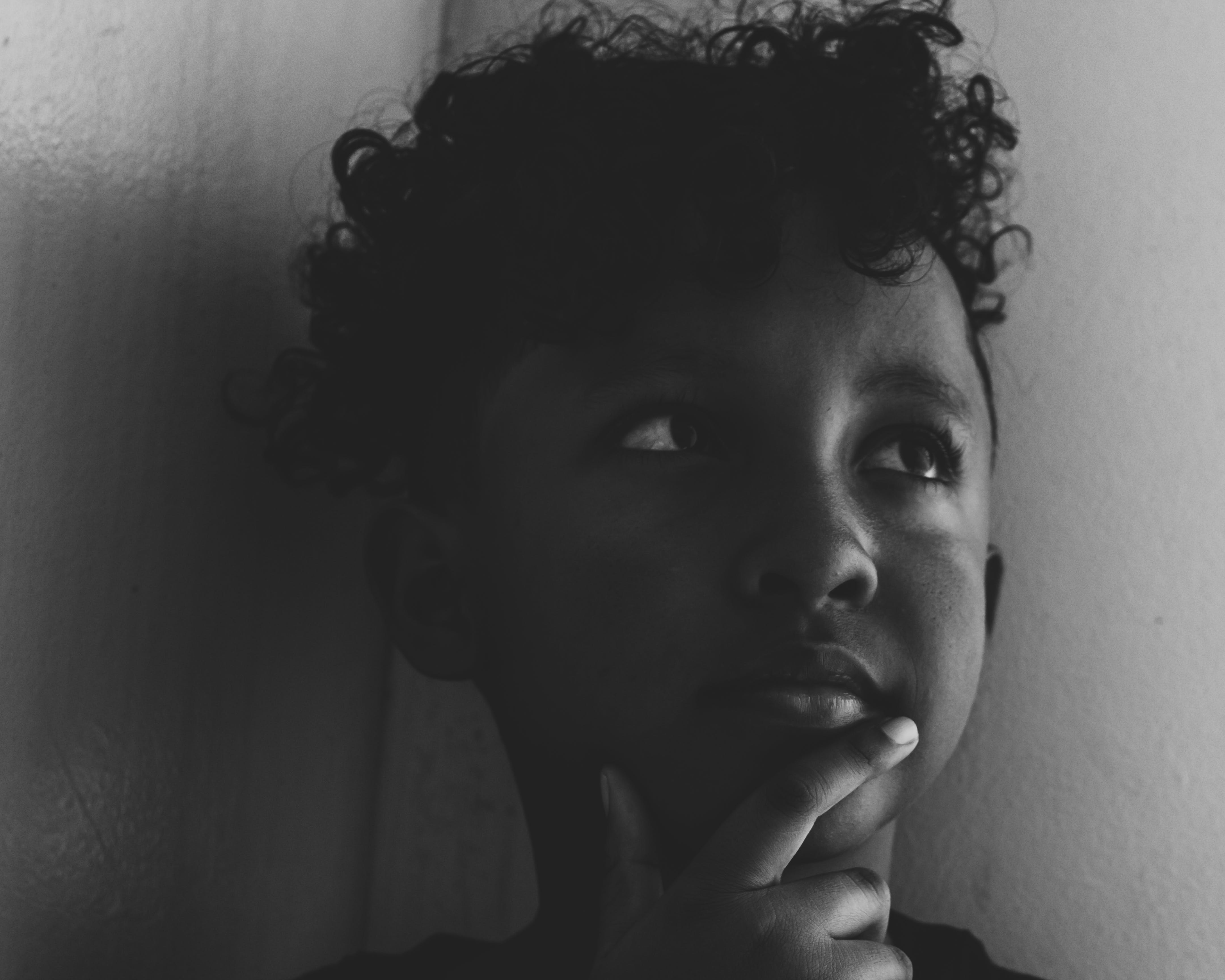 Free stock photo of black and white, curly, curly hair, kid