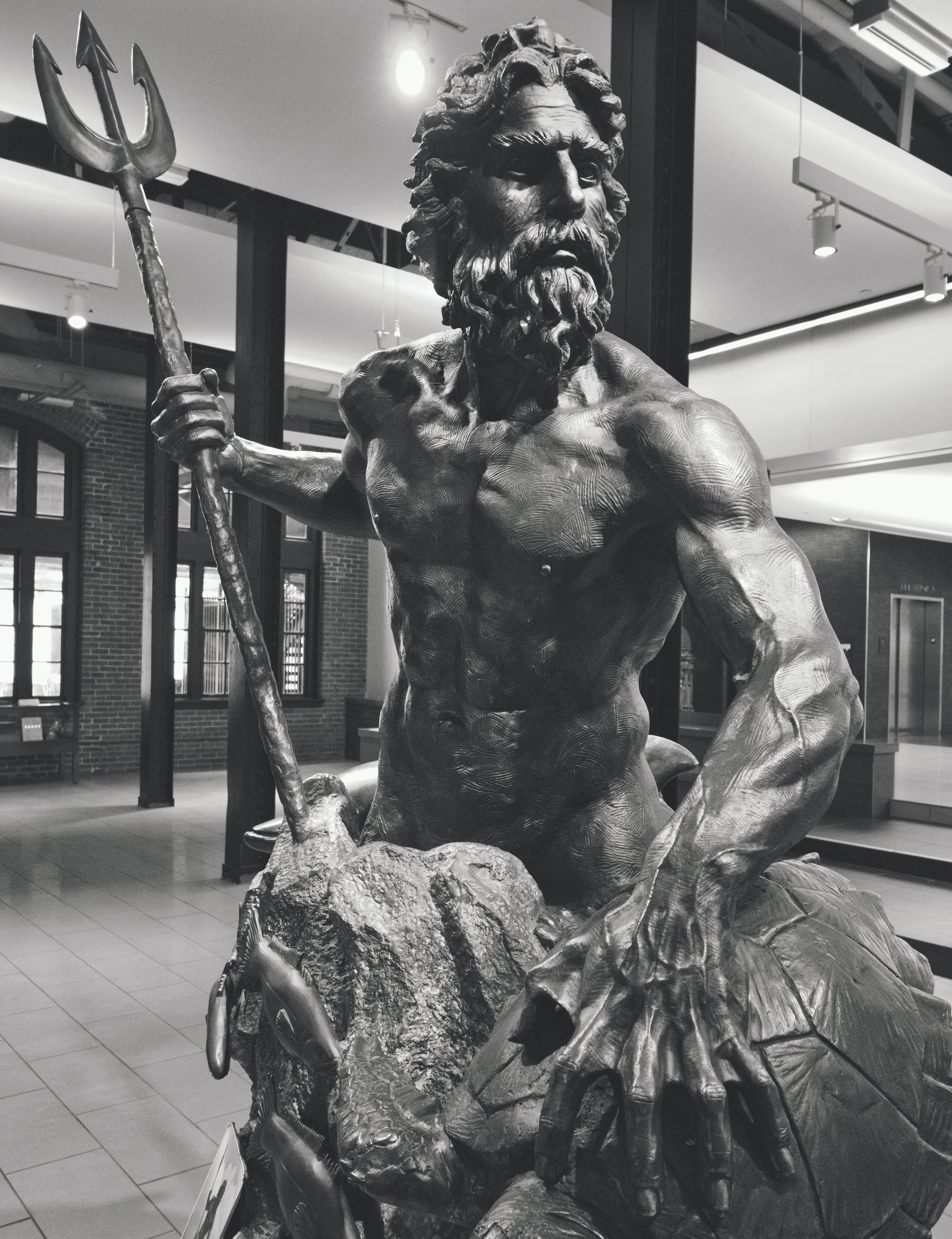 Free stock photo of statue, black and white, poseidon