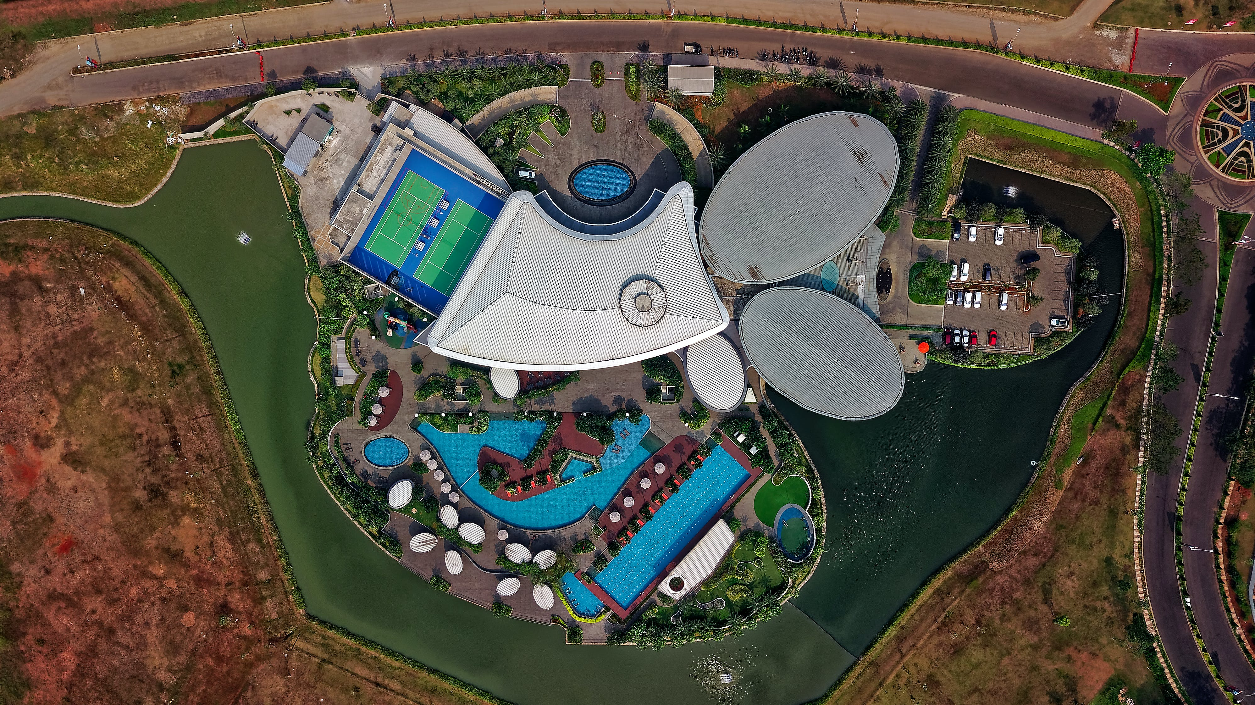 Bird's Eye View Photo of Swimming Pools and Buildings