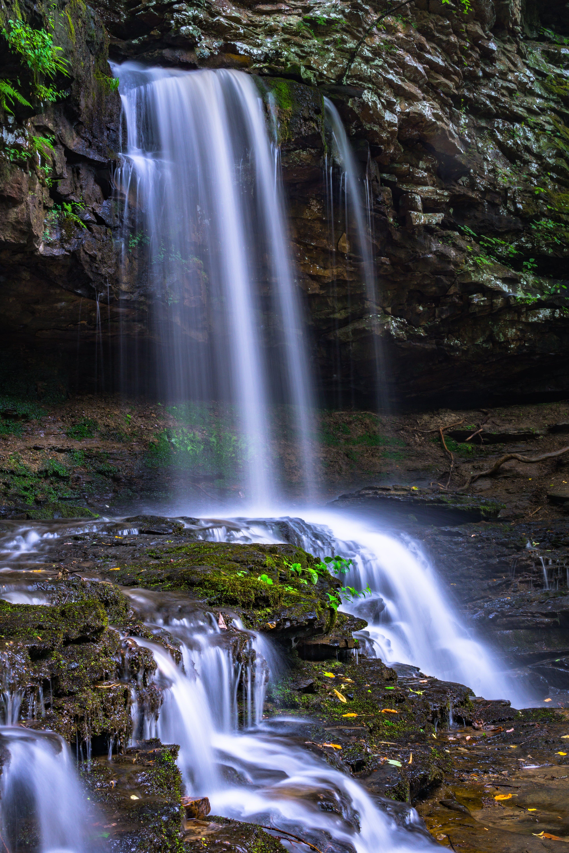 cascade, falls, green