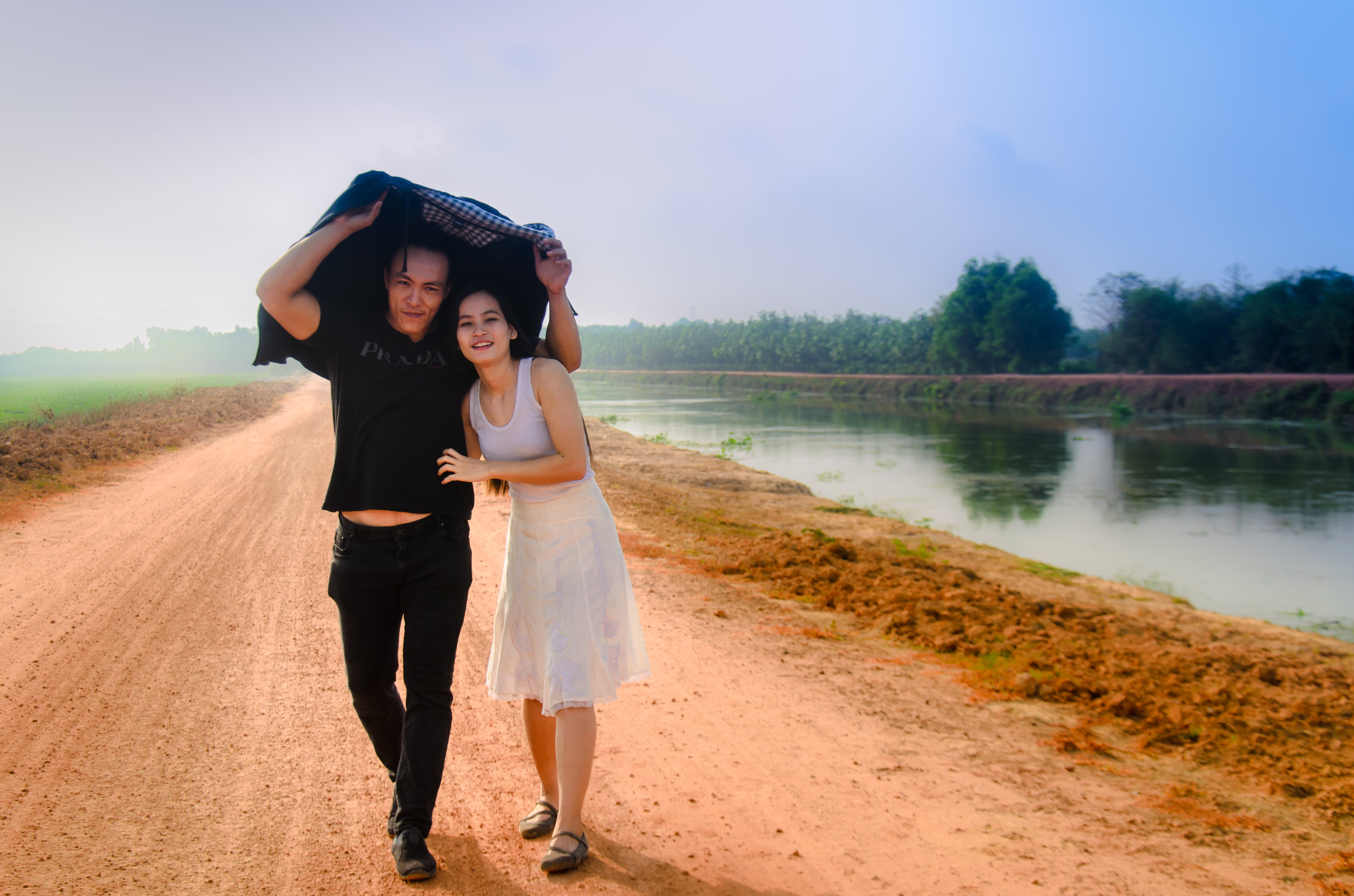 asian couple, beautiful, countryside