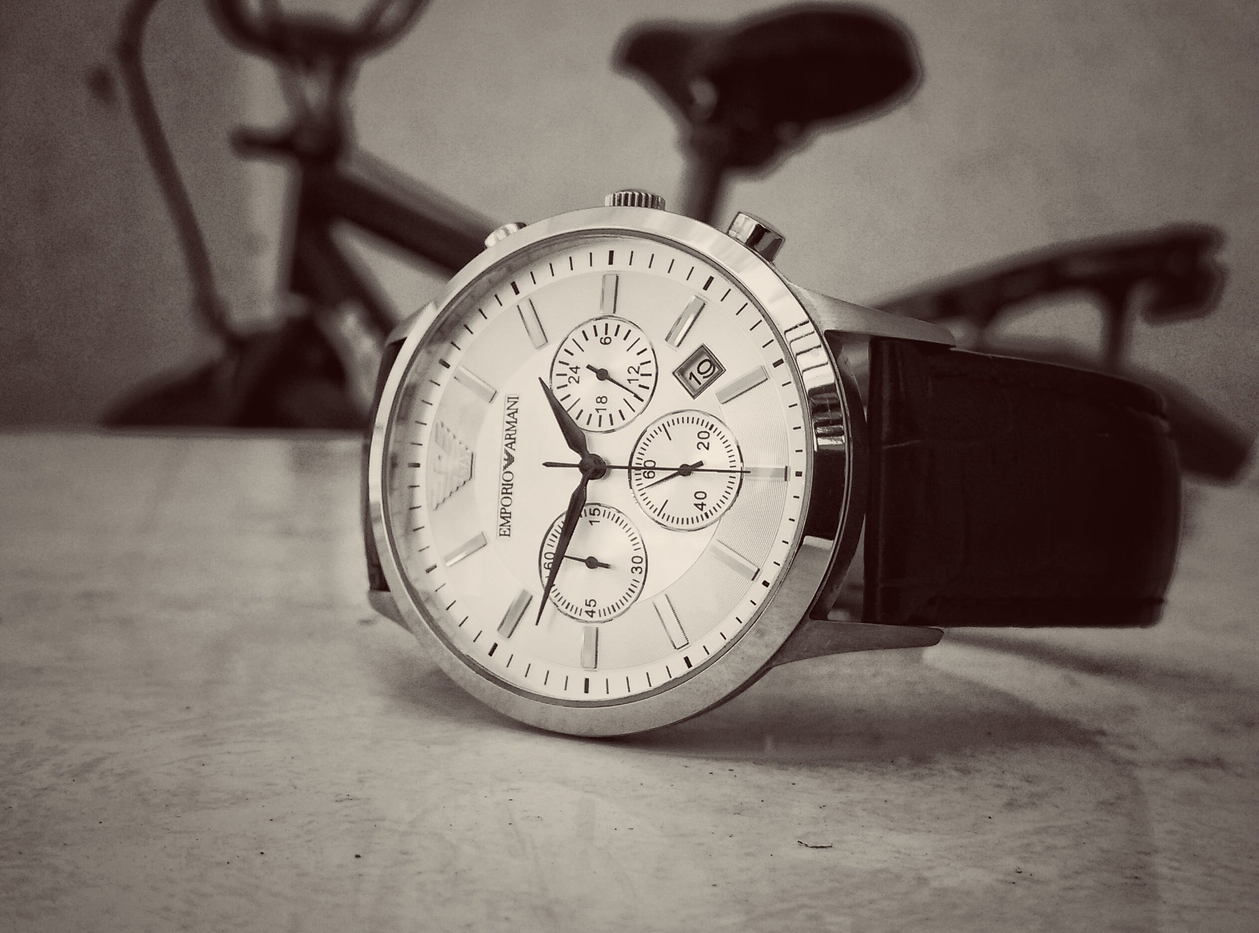 Black Strap Silver Round Chronograph Watch