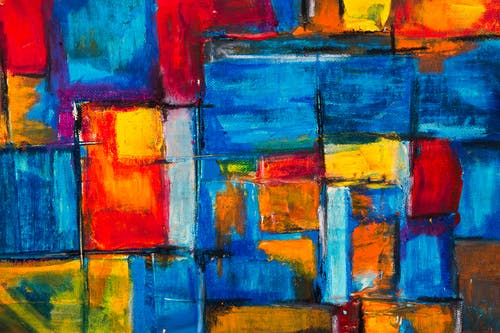 Red, Green, Yellow, and Blue Abstract Painting