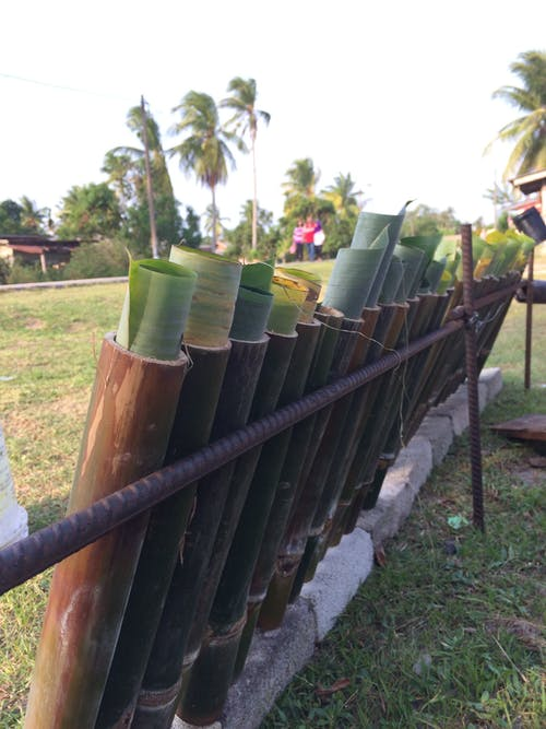 Free stock photo of the making of lemang