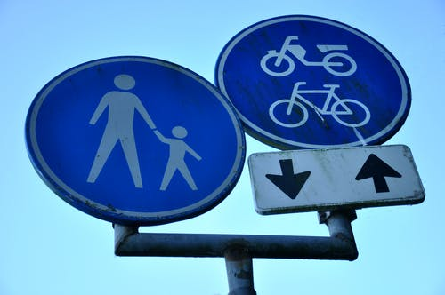 Free stock photo of cyclists allowed, pedestrians allowed, symbol, traffic