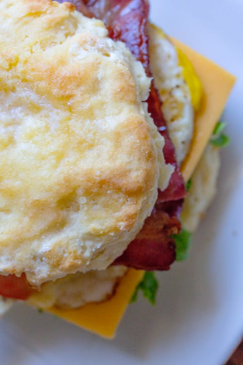 Free stock photo of bacon, biscuit, BLT, butter