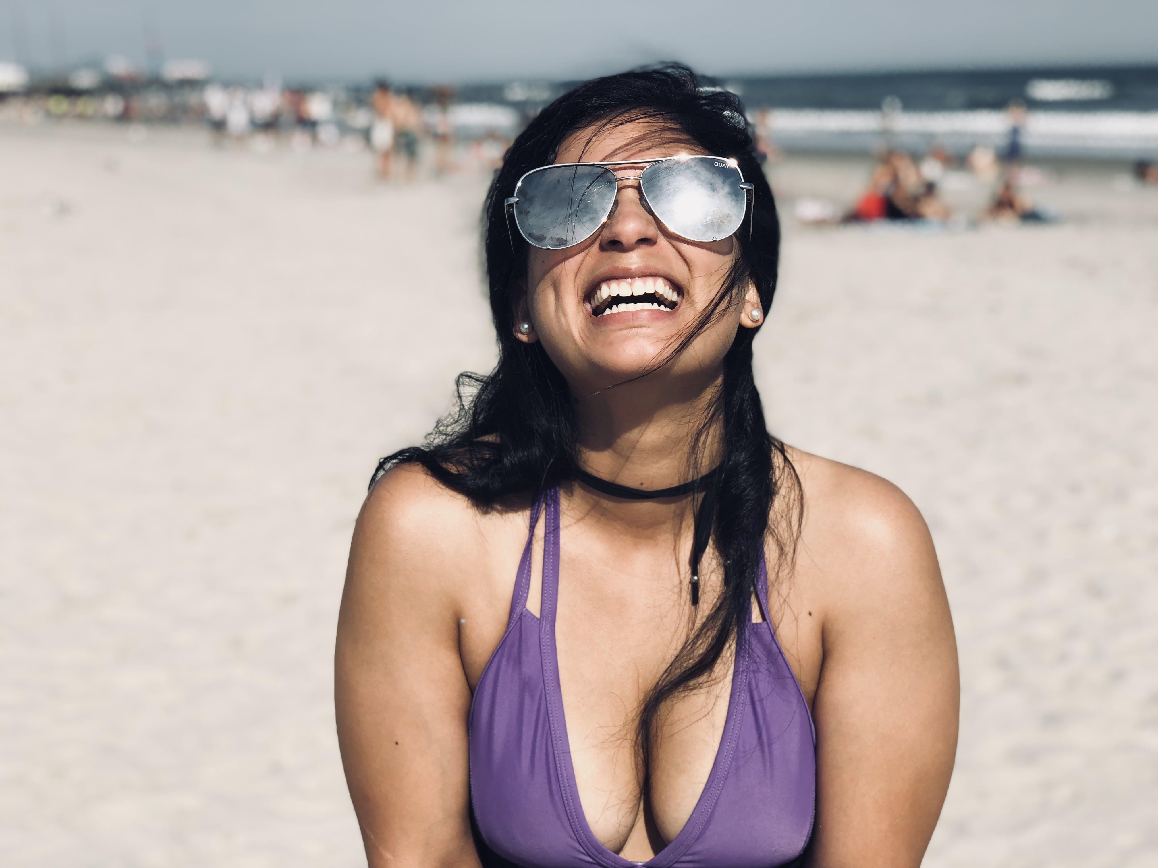 Woman Wearing Purple Swimsuit