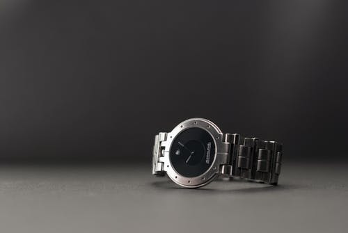 Silver Link Round Black Analog Watch