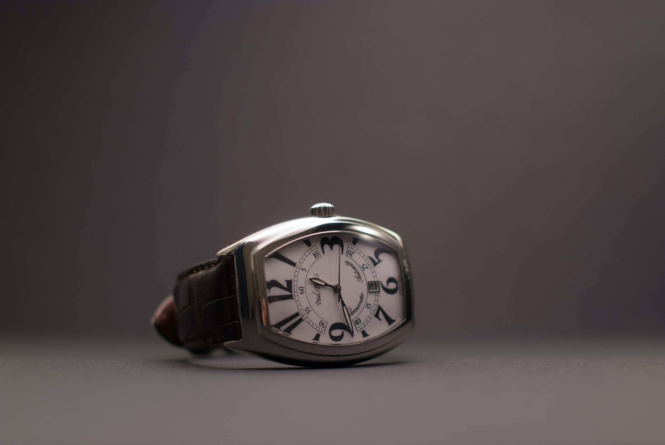 Black Leather Strap Silver Rectangular Analog Watch