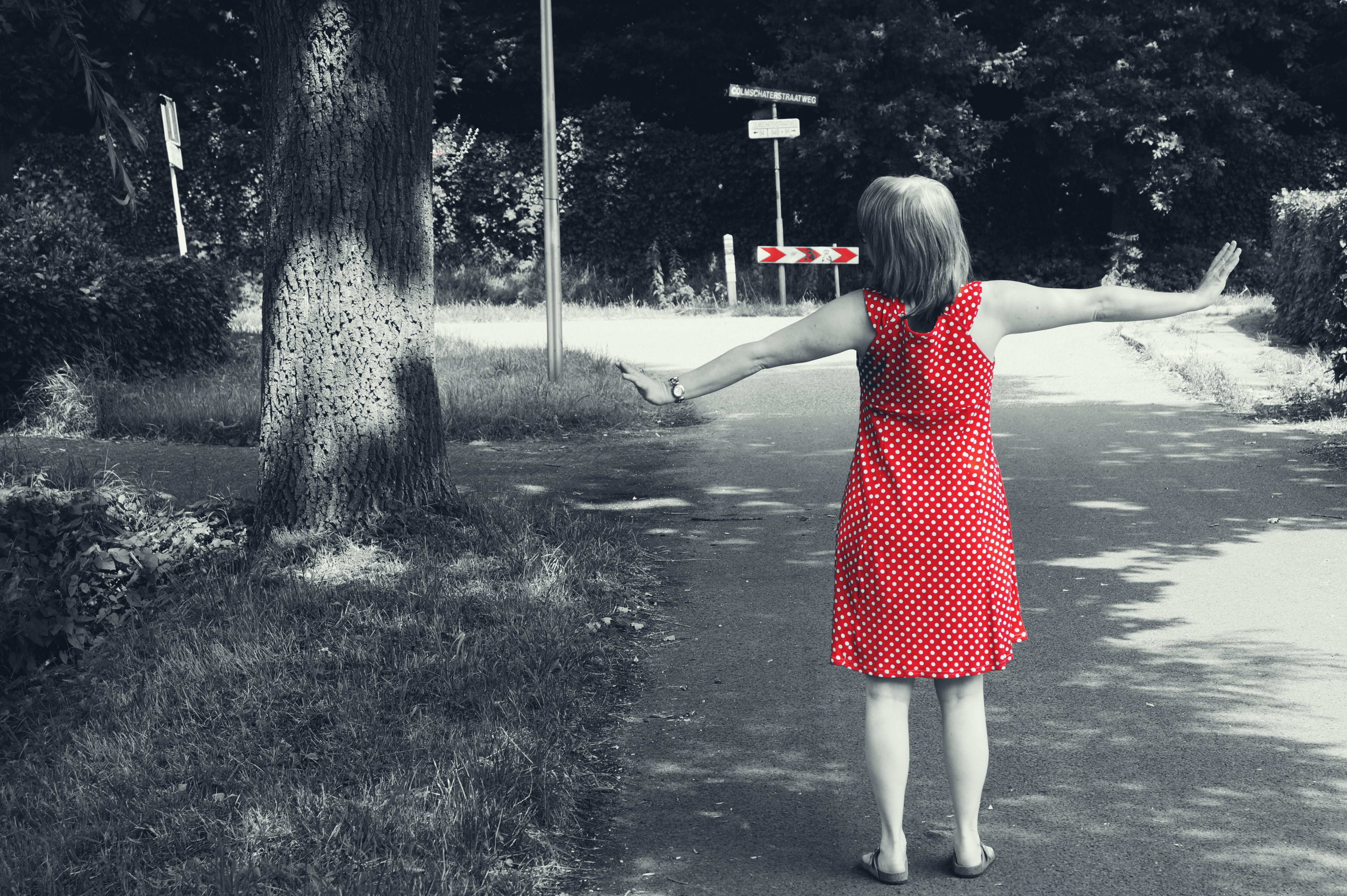 Selective Color Photography of Girl's Red Dress