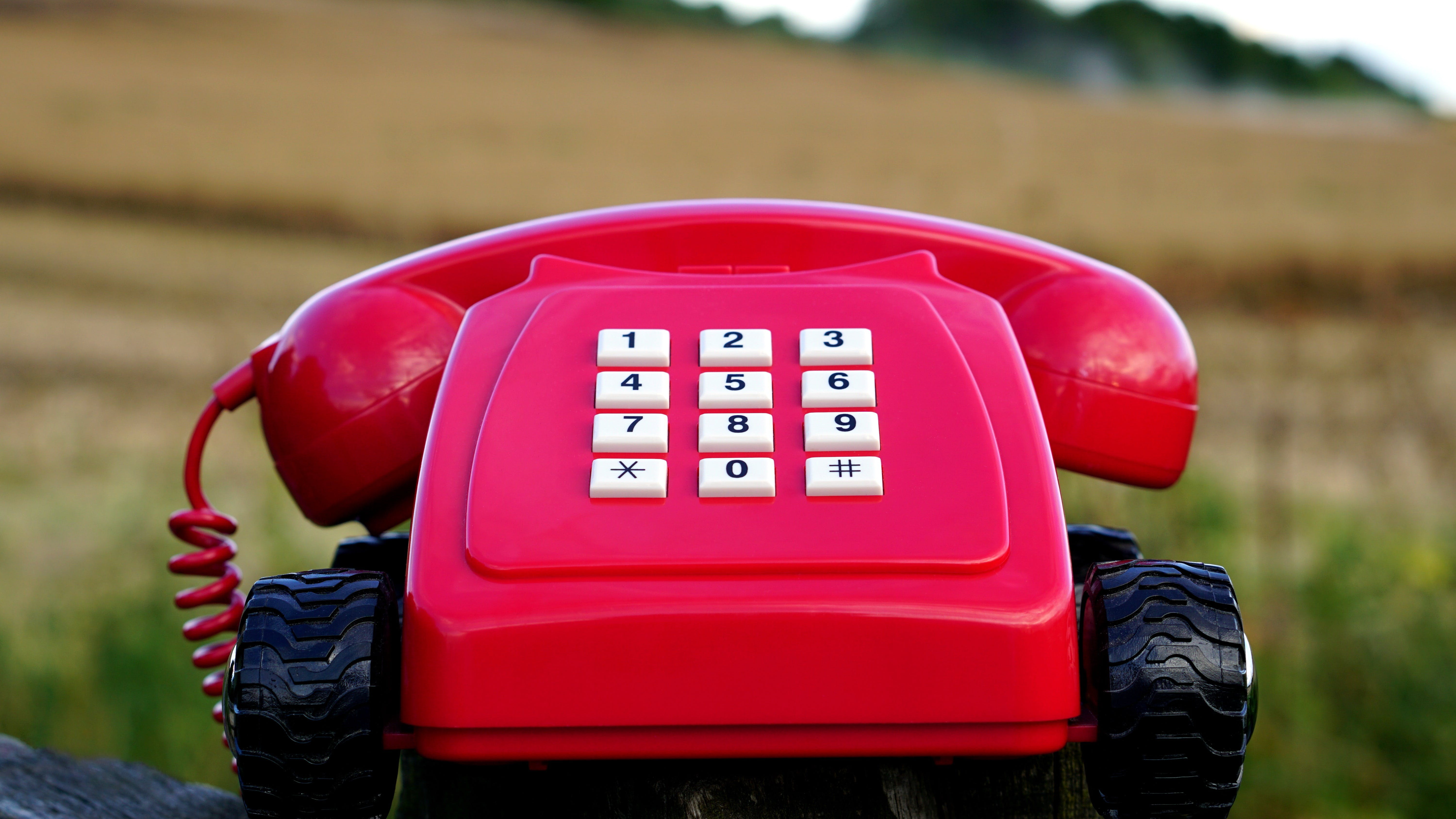 Red Rotary Phone With Black Wheels Near Brown Grasses during Day Time