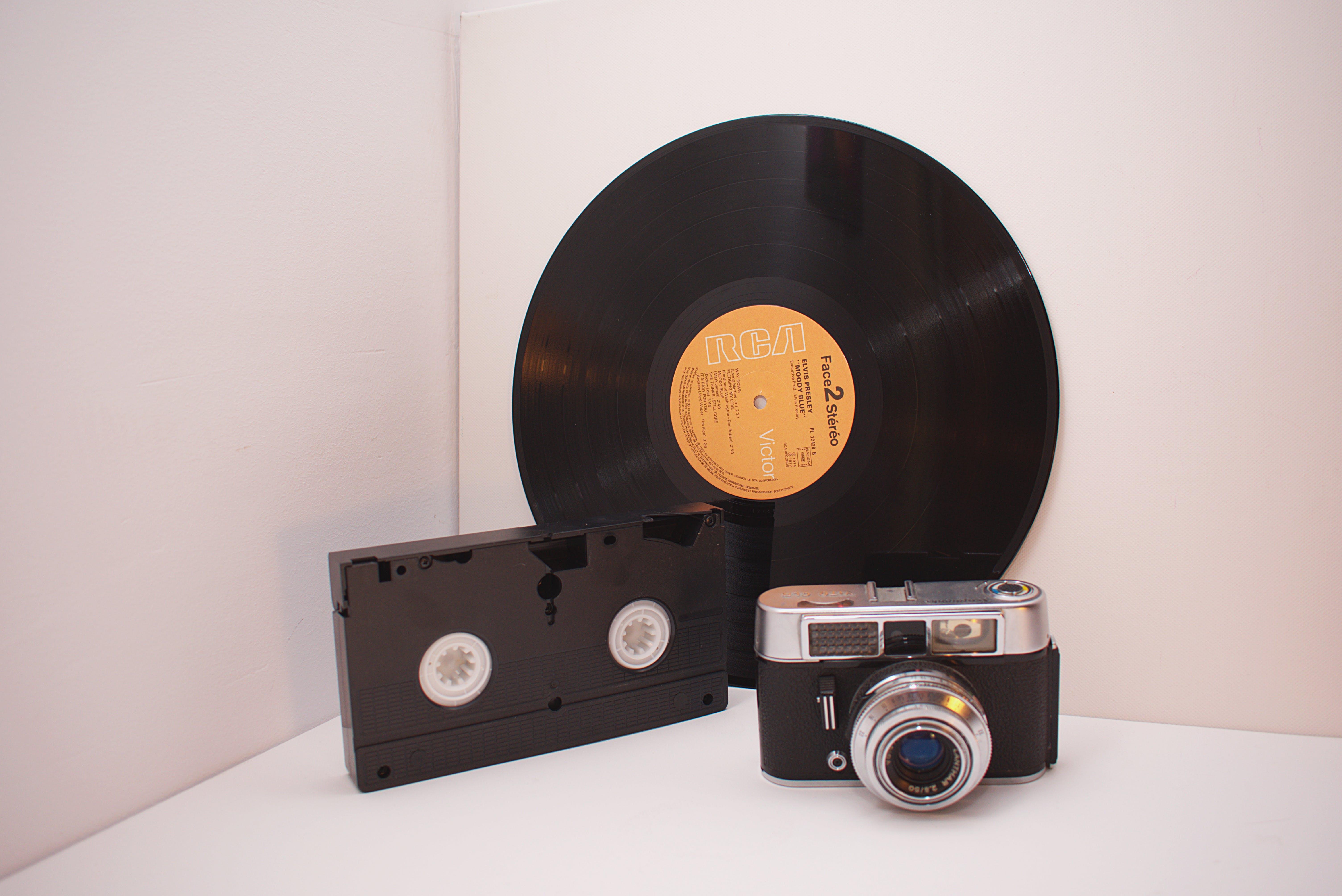 Black Vinyl Disc, Black Vhs Tape And Camera