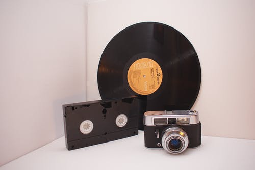 Black Vinyl Disc, Black Vhs Tape And Camera