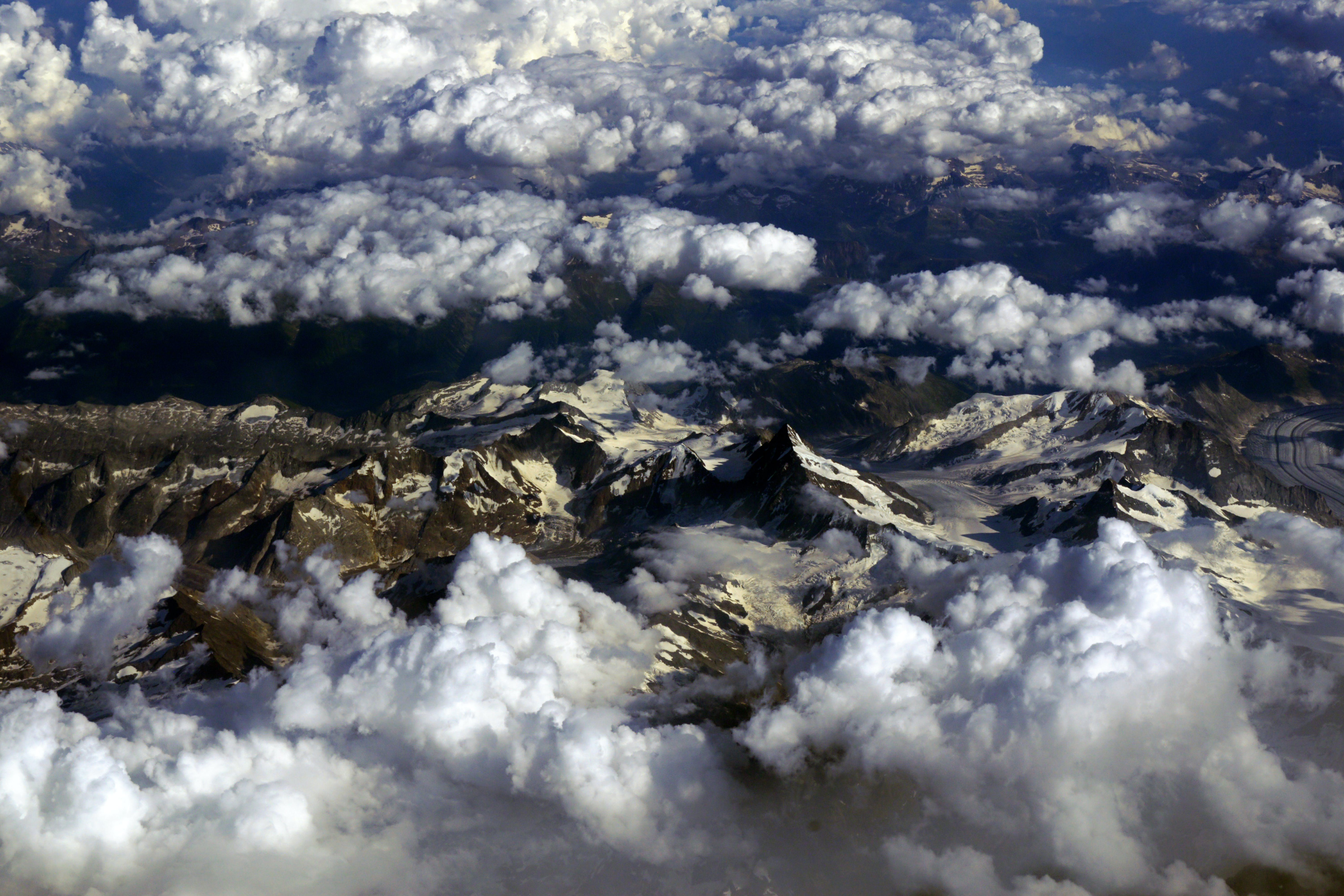 Aerial Photography Snow-covered Mountains