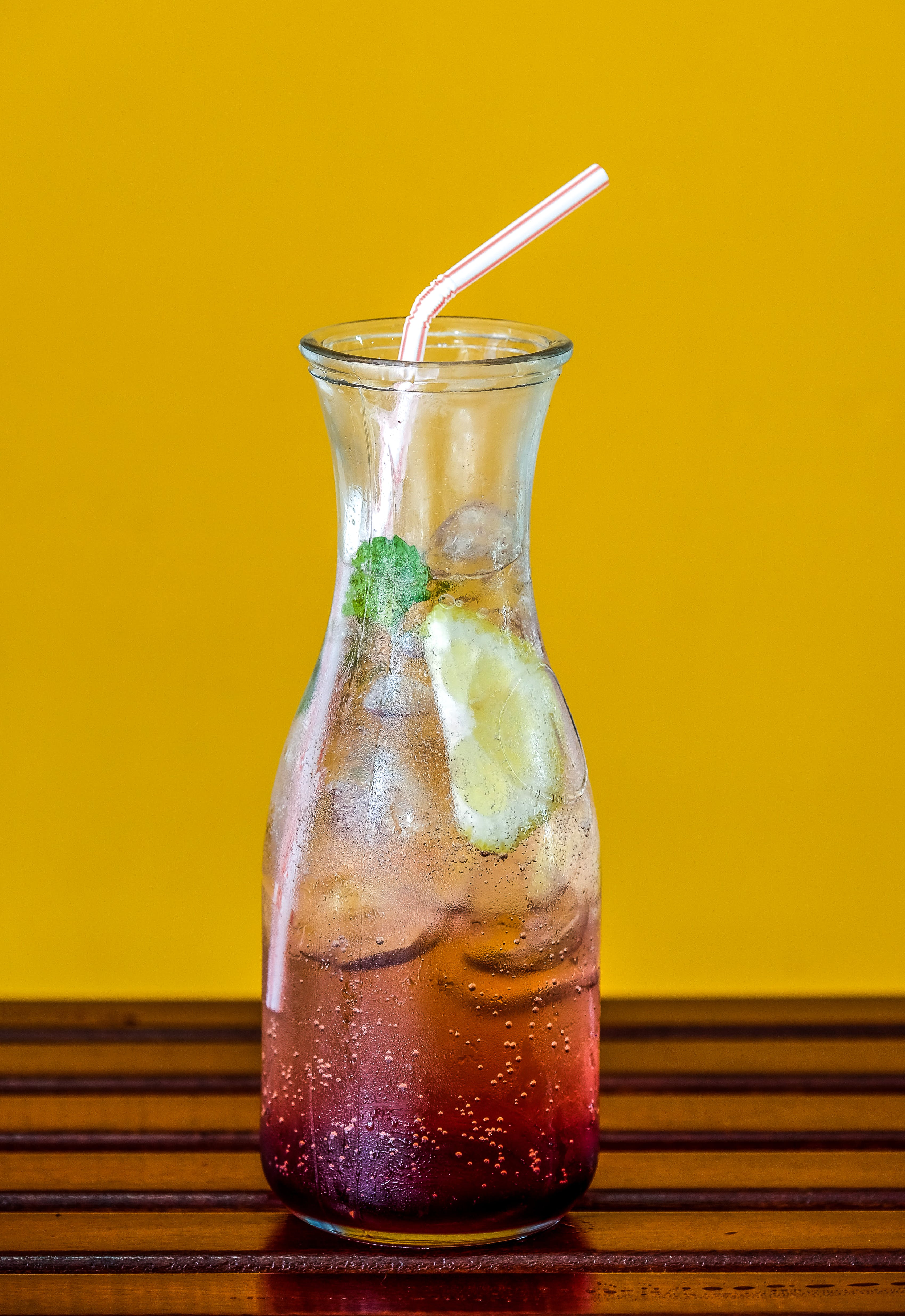 Clear Glass Pitcher Filled With Juice