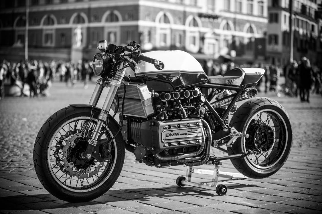 Grayscale Photography of Classic Motorcycle