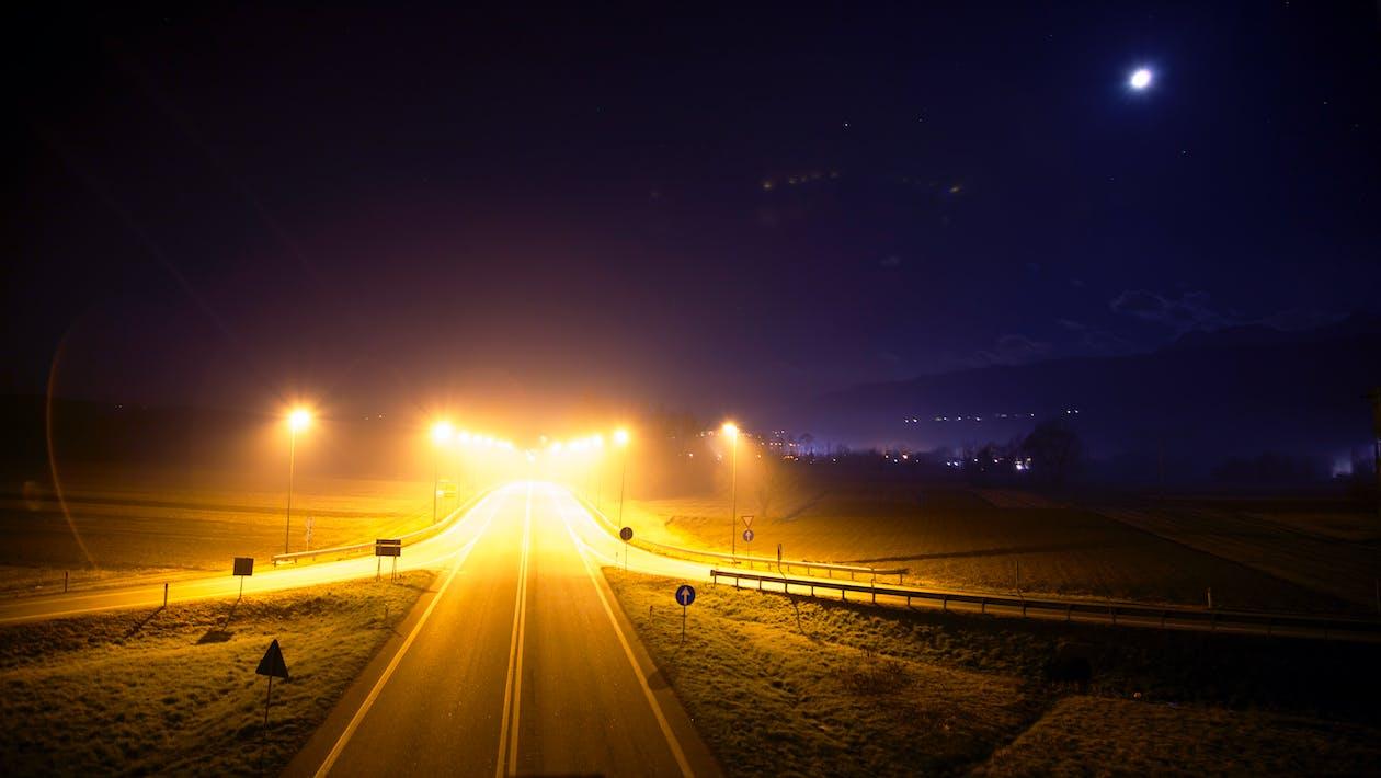 Free stock photo of highway, lights, night