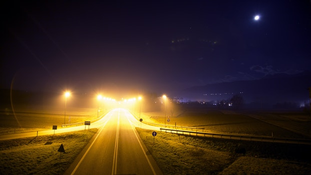 Free stock photo of road, sky, lights, night