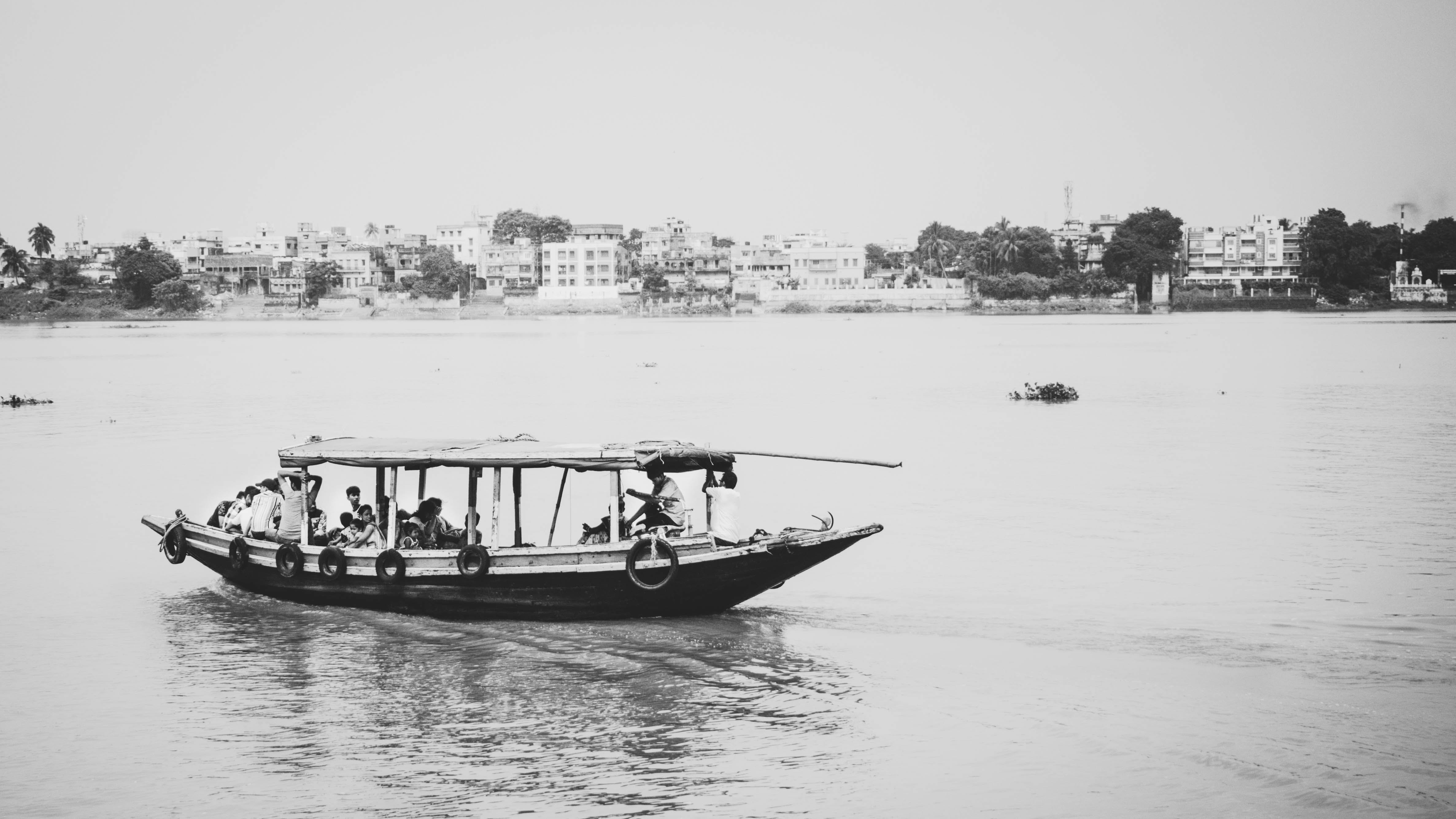 Free stock photo of black, black and-white, board, ganges