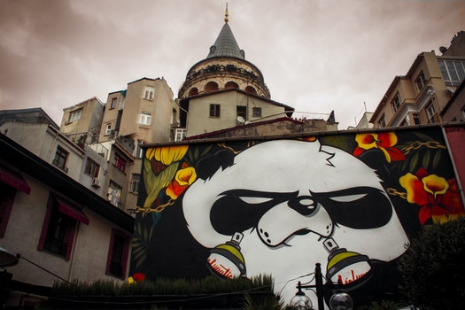 Free stock photo of cloudy, taking photo, buildings, graffiti