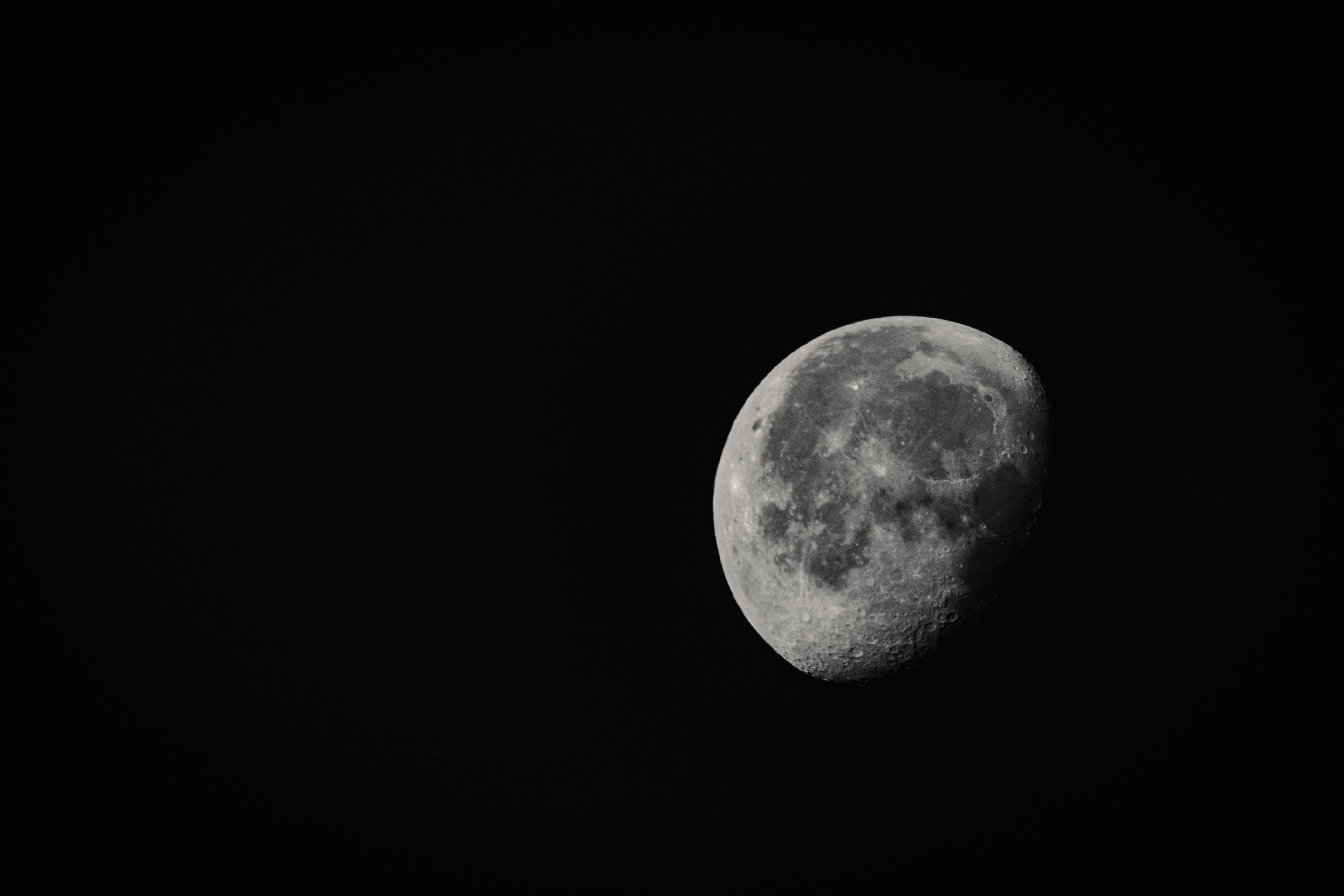 Grayscale Photo of Moon