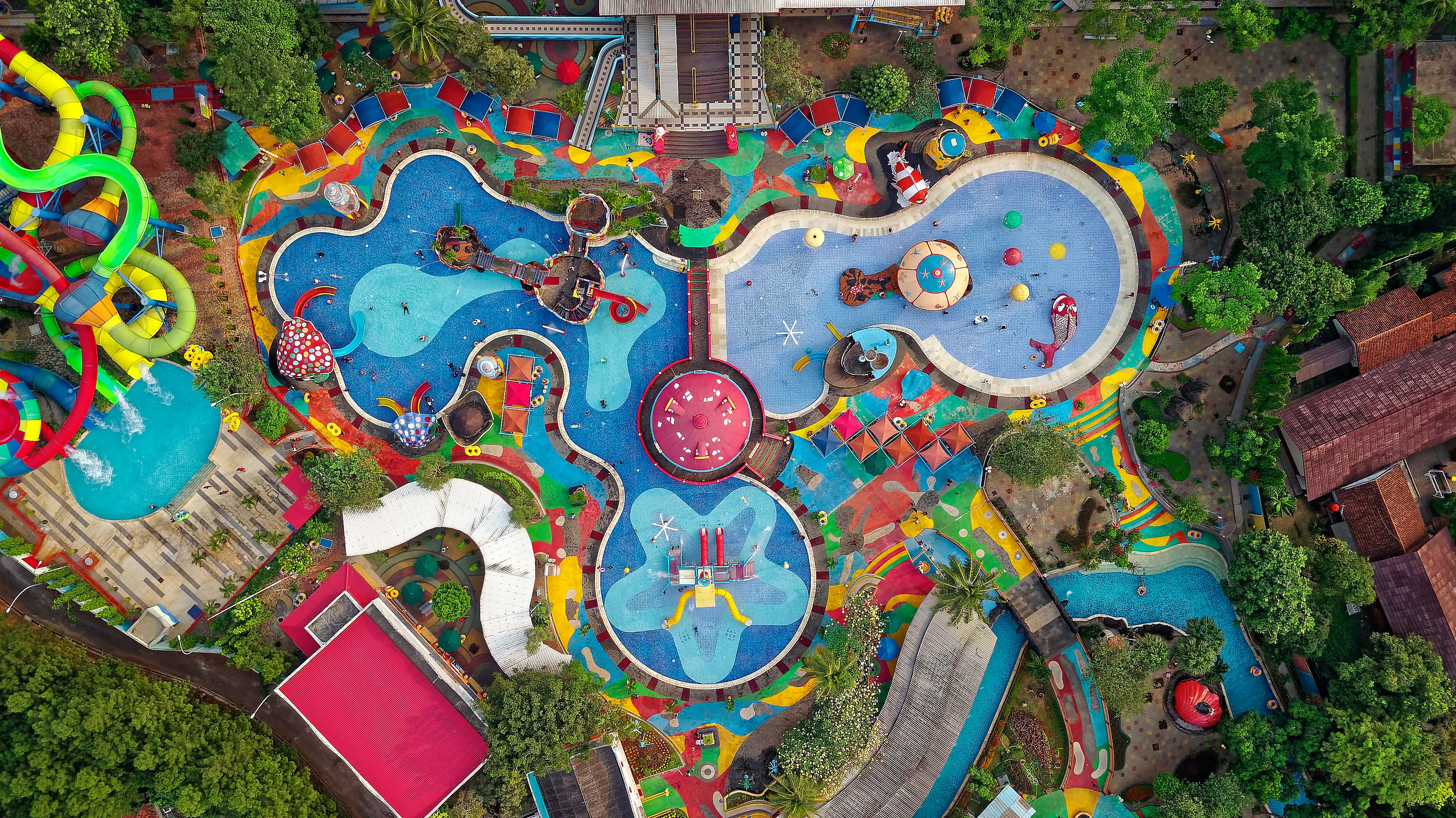 Bird's-eye View of Swimming Pool and Slides