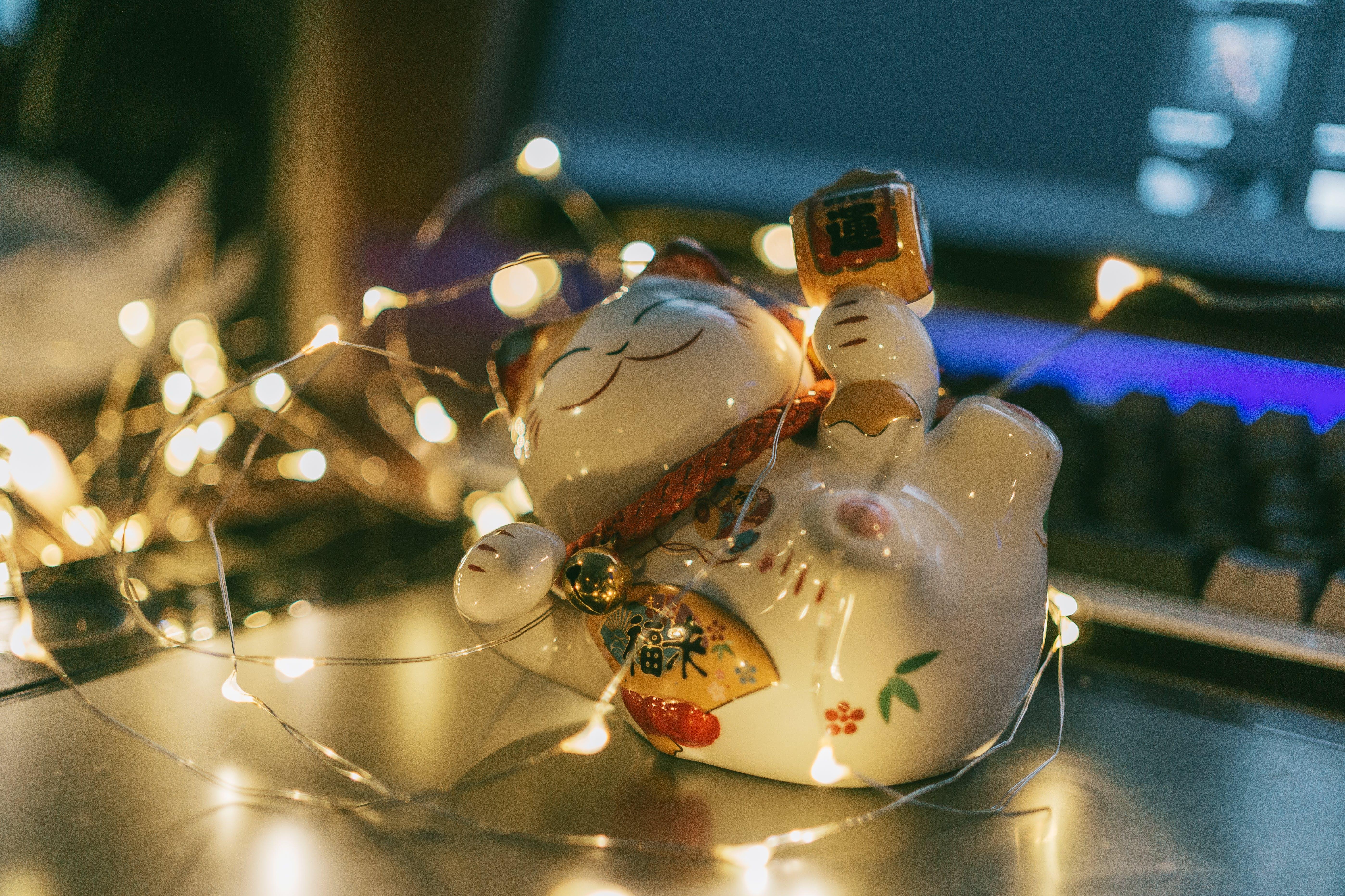 White Ceramic Cat Figurine With String Lights