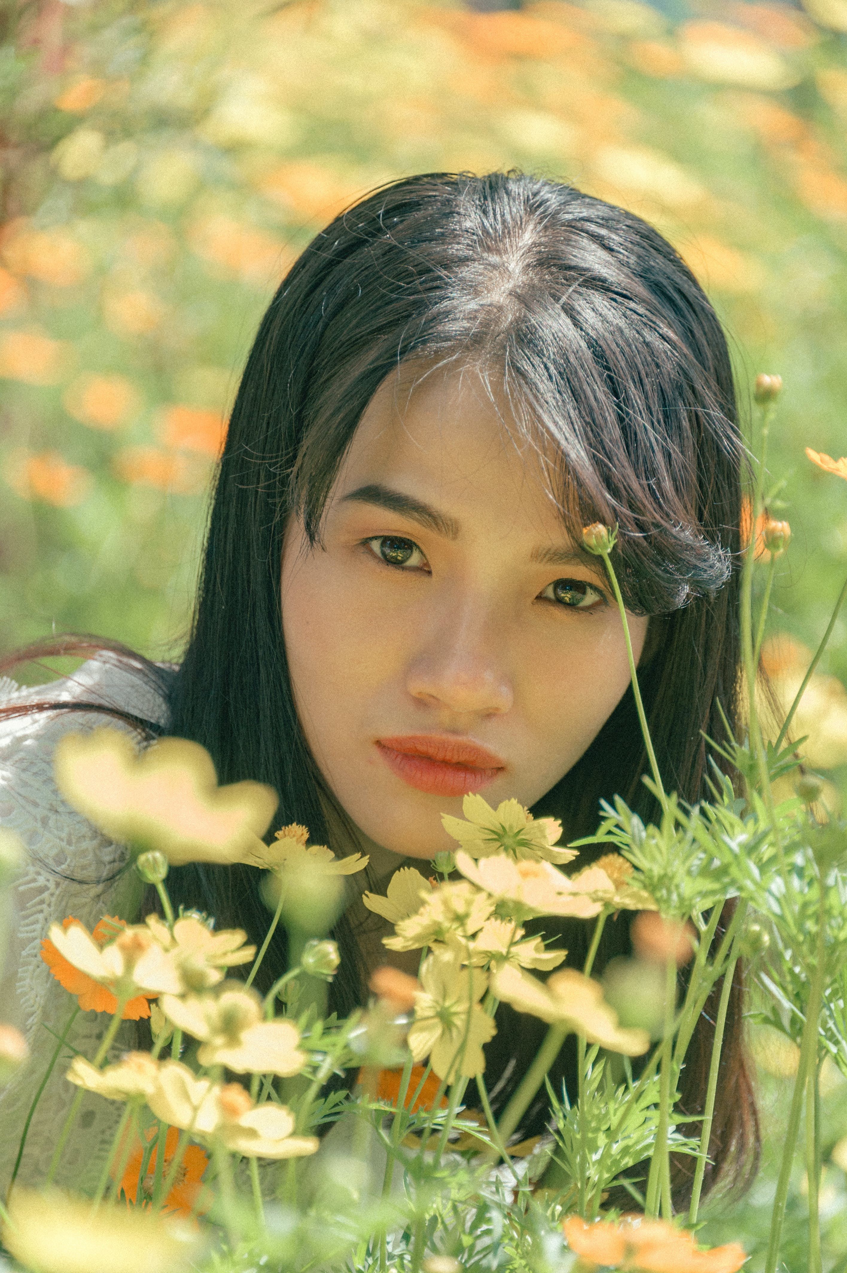 Woman Near Yellow Flowers