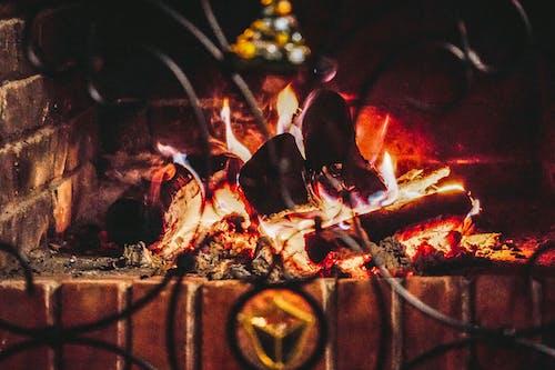 คลังภาพถ่ายฟรี ของ คันทรีเฮาส์, เตาผิง, ไฟ