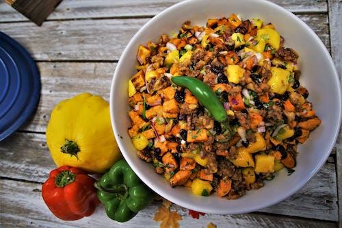 Free stock photo of Roasted Sweet Potatoes and Mango Salad