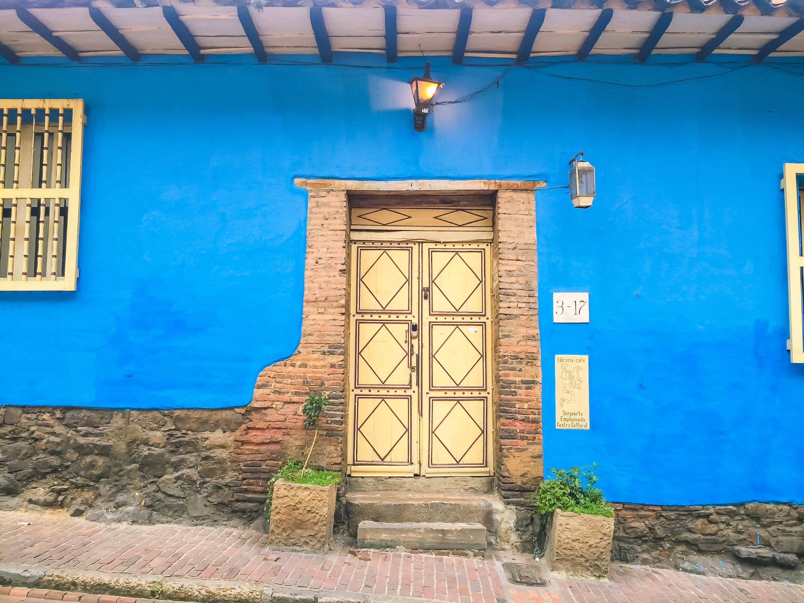 Blue House With Closed Door